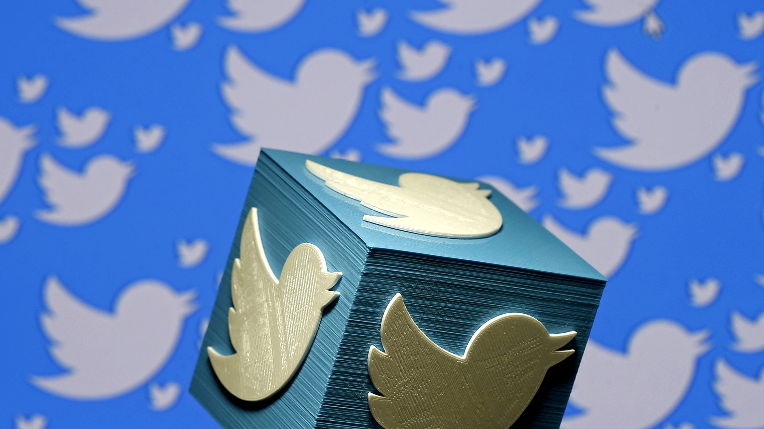 FILE PHOTO - A 3D-printed logo for Twitter is seen in this picture illustration made in Zenica