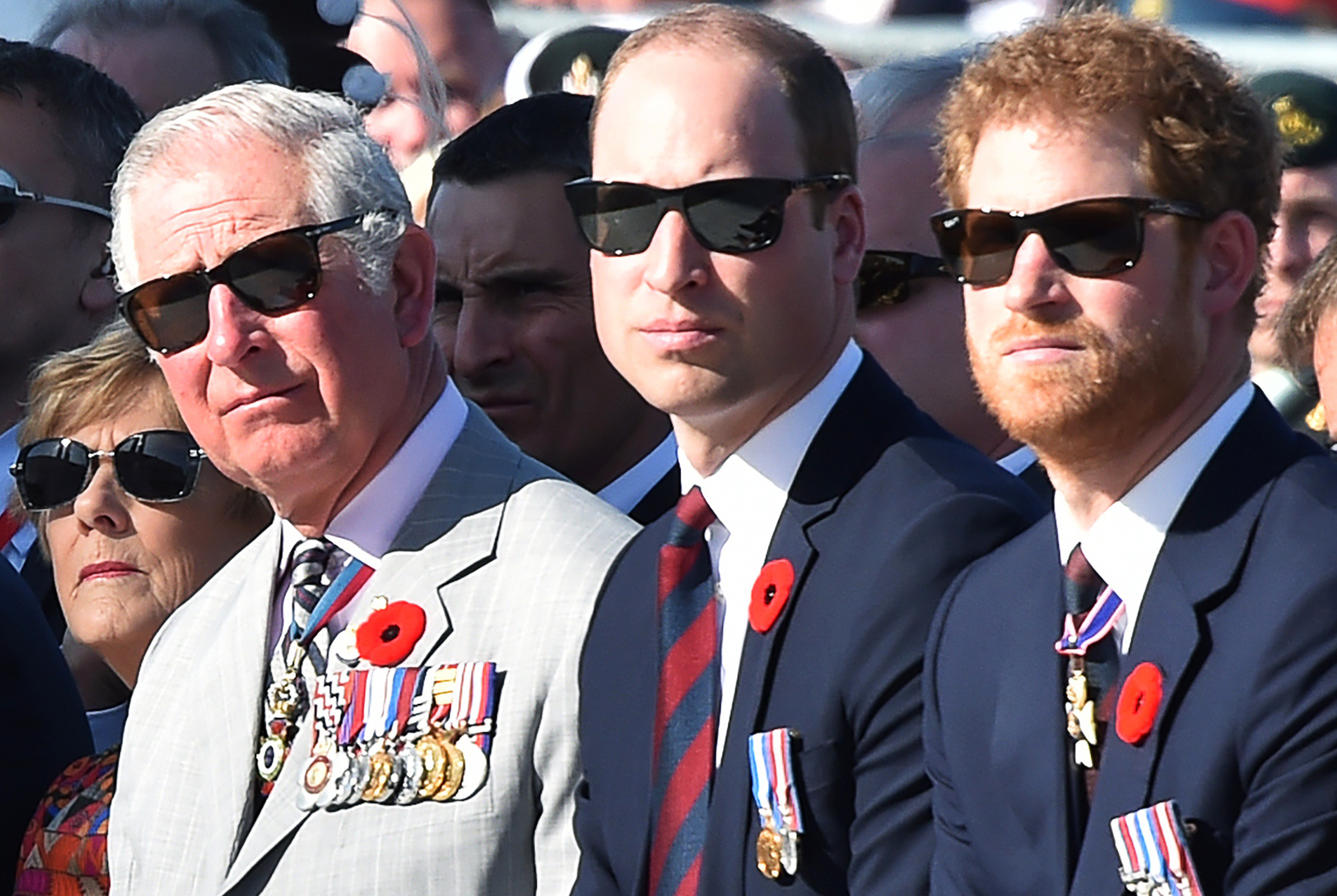 Britain's Prince Charles, Prince William and Prince Harry attend a commemoration ceremony at the Canadian National Vimy Memorial during a commemoration ceremony to mark the 100th anniversary of the Battle of Vimy Ridge, in northern France, on April 9, 2017.