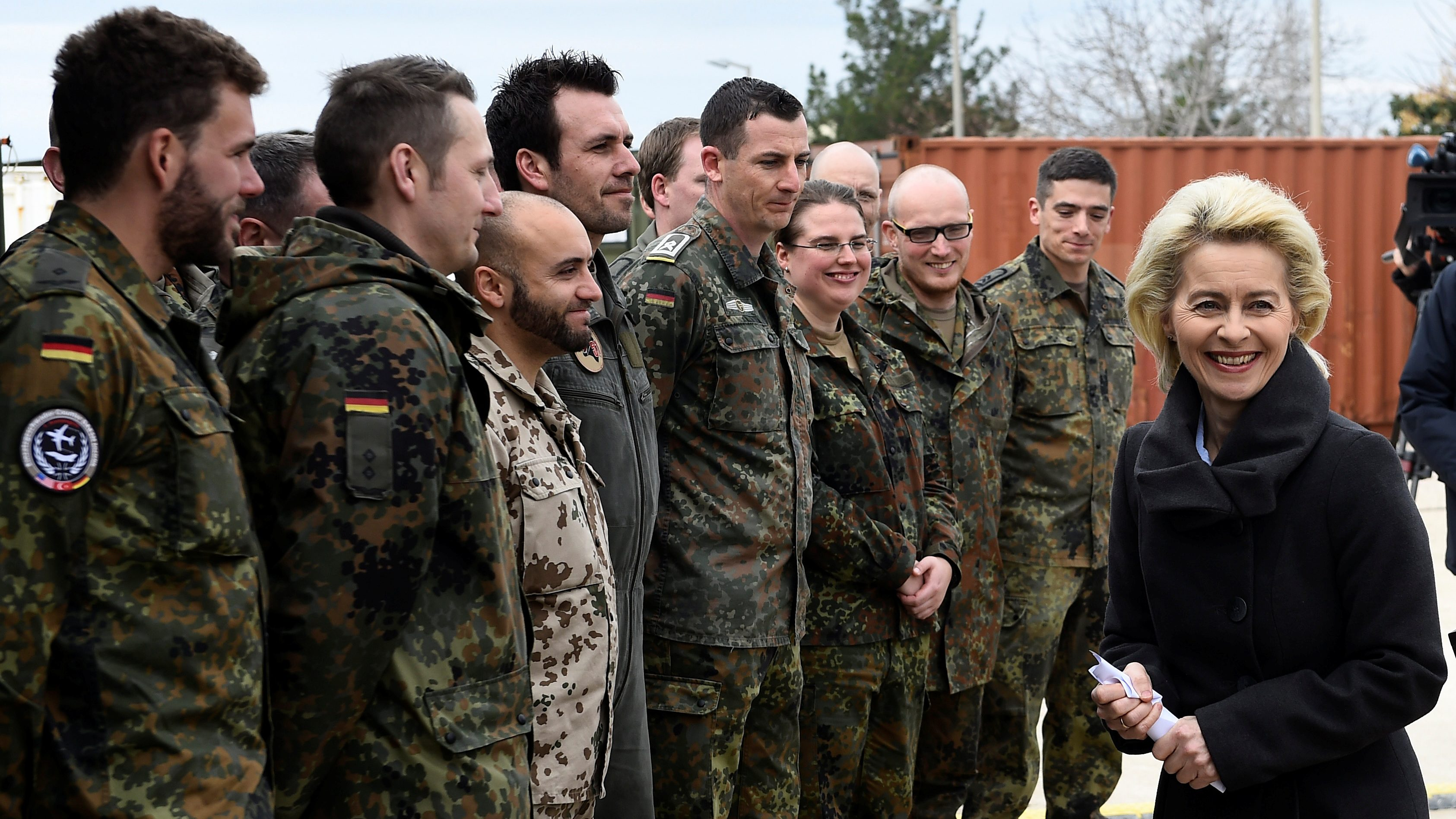 FILE PHOTO: German Defence Minister von der Leyen chats with soldiers during a visit of the German Armed Forces Bundeswehr at the air base in Incirlik