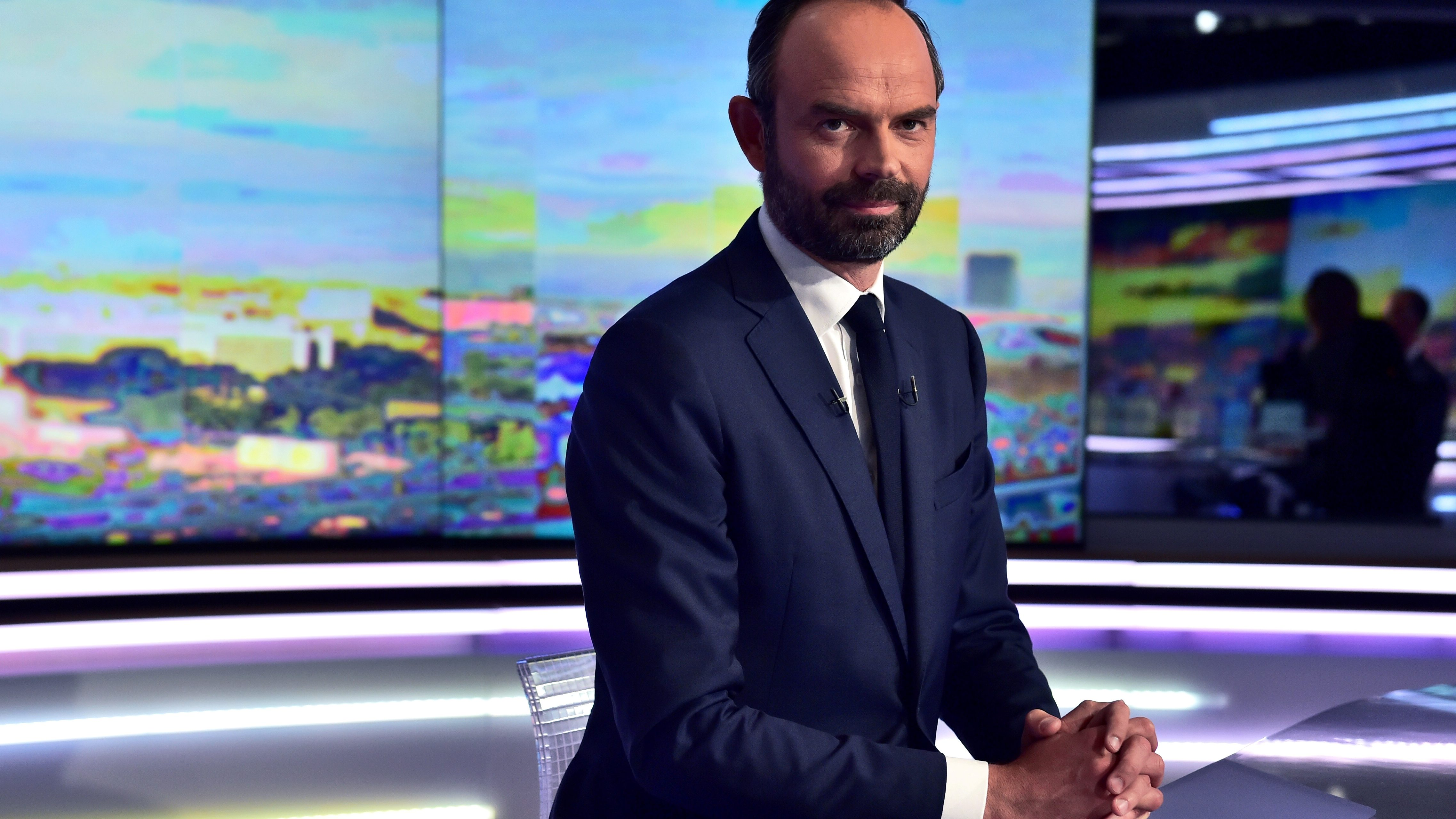 Edouard Philippe, France's newly-appointed Prime Minister, poses prior to taking part in the prime time news broadcast of French TV channel TF1, in their studios in Boulogne-Billancourt