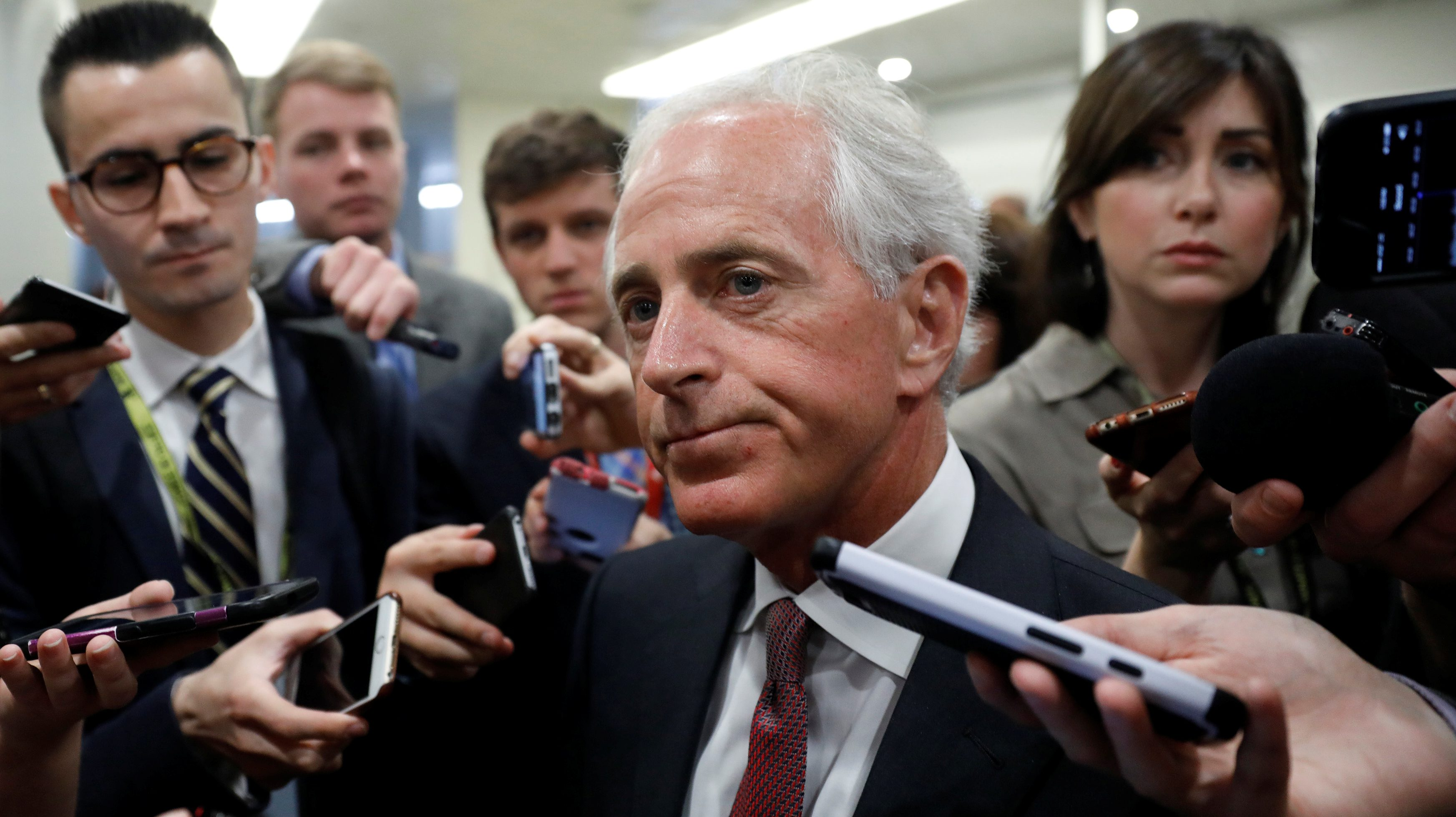 Sen. Bob Corker (R-TN) speaks to reporters about recent revelations of President Donald Trump sharing classified information with Russian Officials on Capitol Hill in Washington, D.C., U.S. May 16, 2017.  REUTERS/Aaron P. Bernstein - RTX363O6