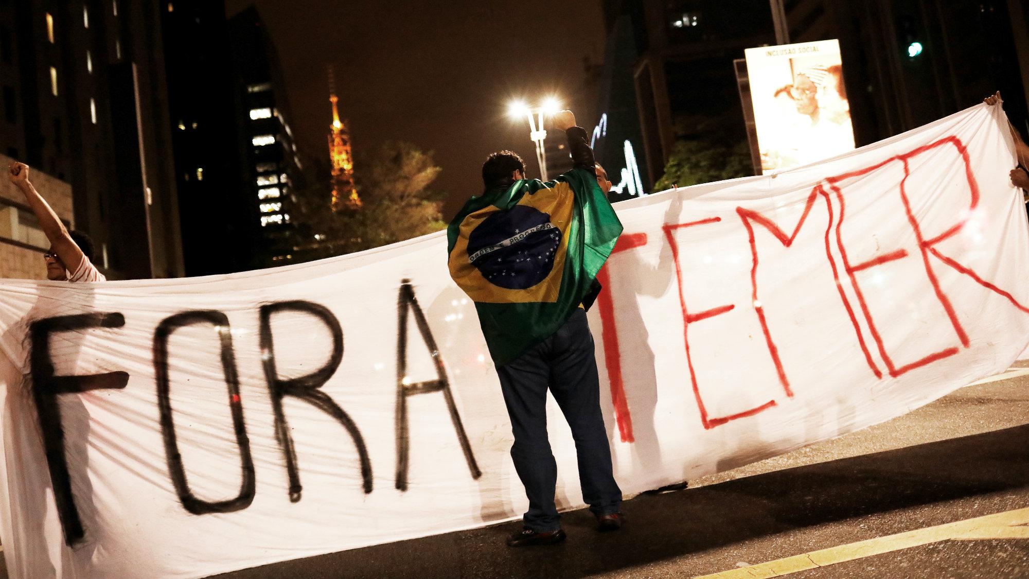 Protests against president Michel Temer in Brazil