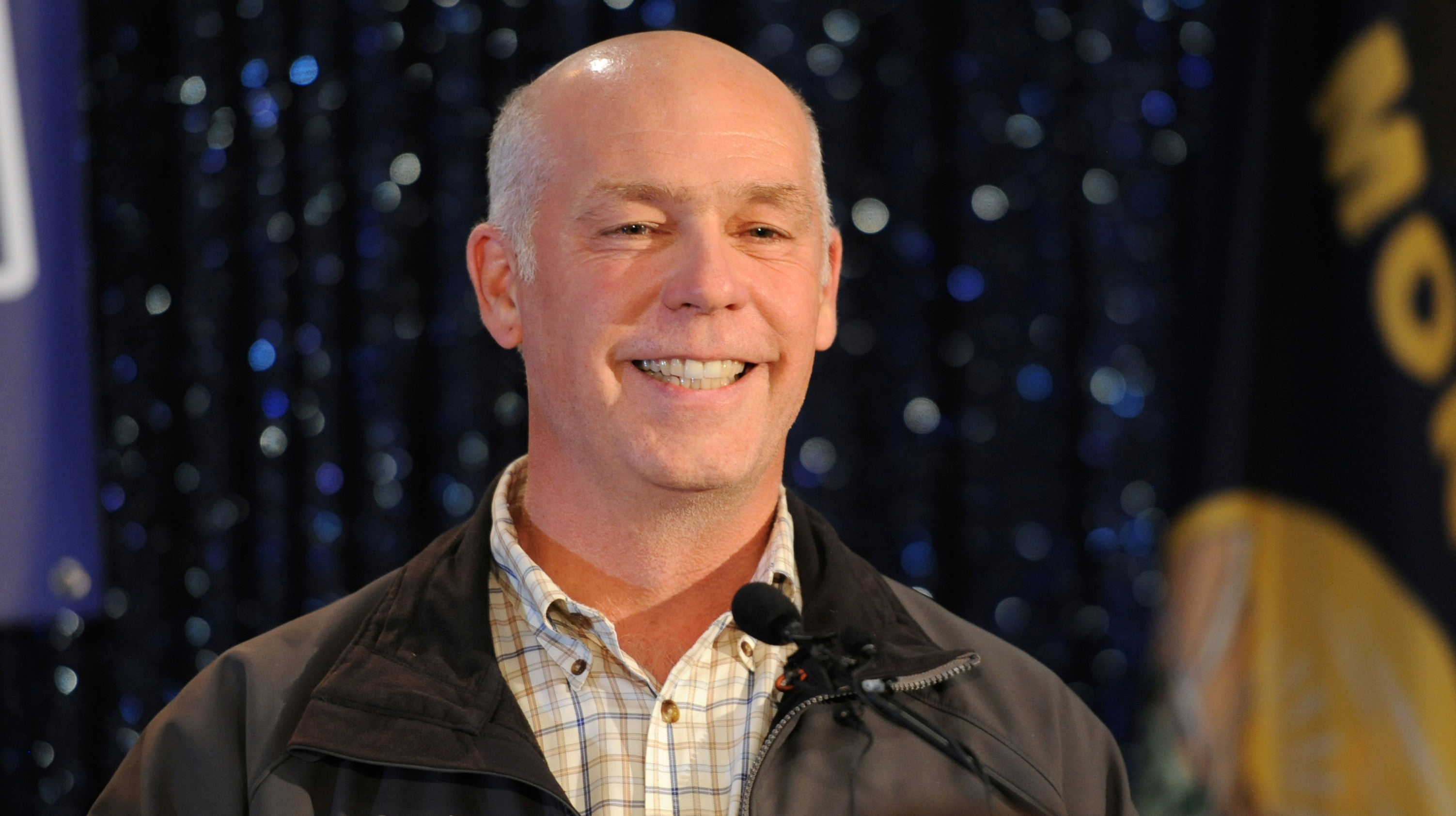Representative elect Greg Gianforte accepts the crowds congratulations during his victory speech after winning the special congressional election in Bozeman, Montana May 25, 2017, during a special congressional election called after former Rep. Ryan Zinke was appointed to lead the Interior Department.