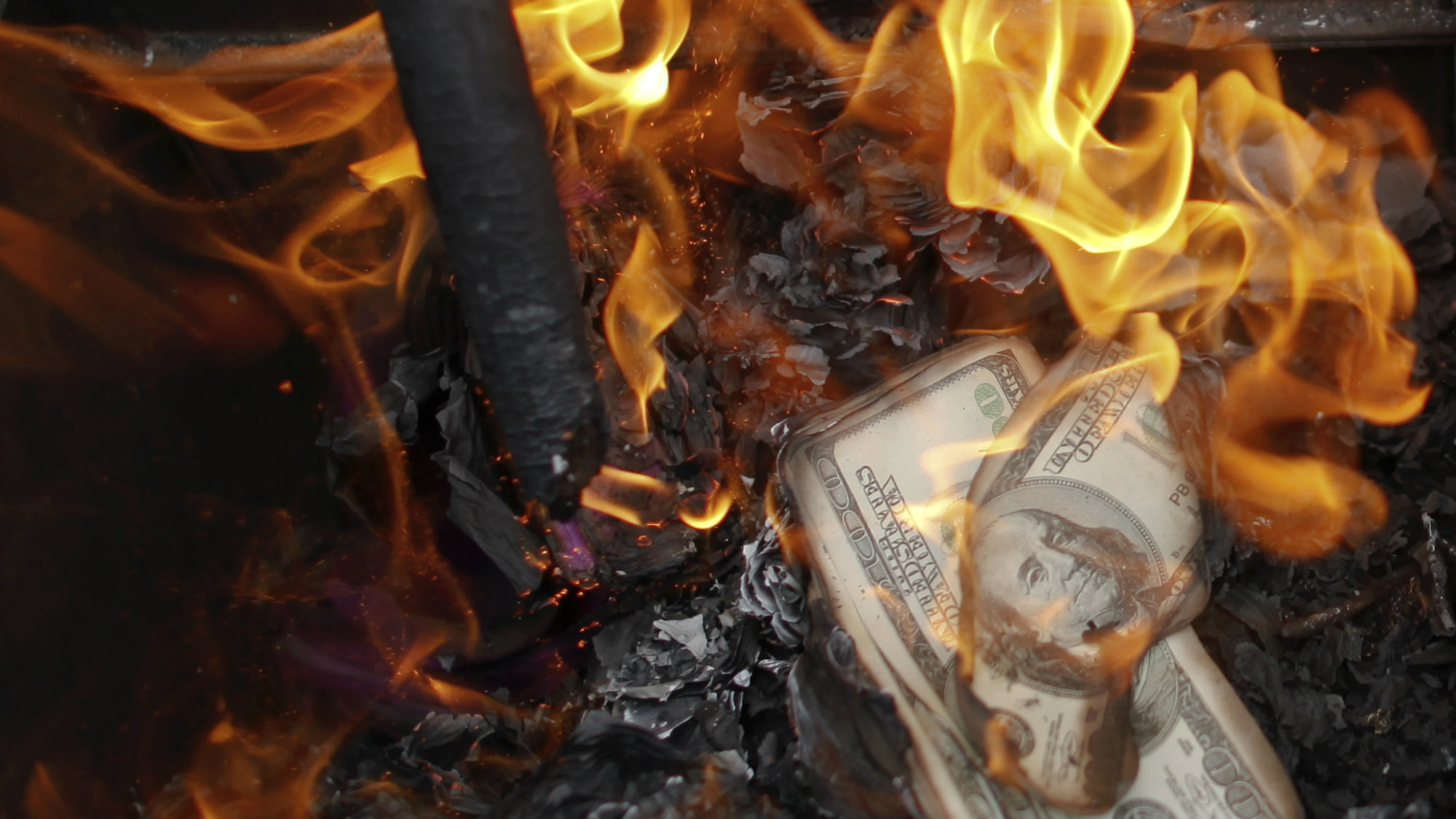Banknotes on fire