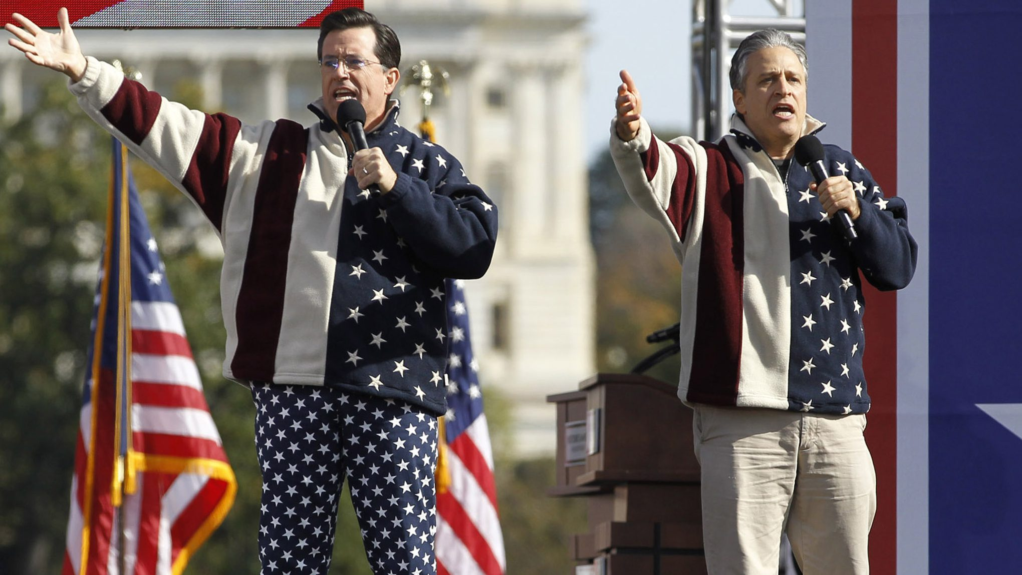 John Stewart and Stephen Colbert during the Rally to Restore Sanity and/or/Fear in Washington