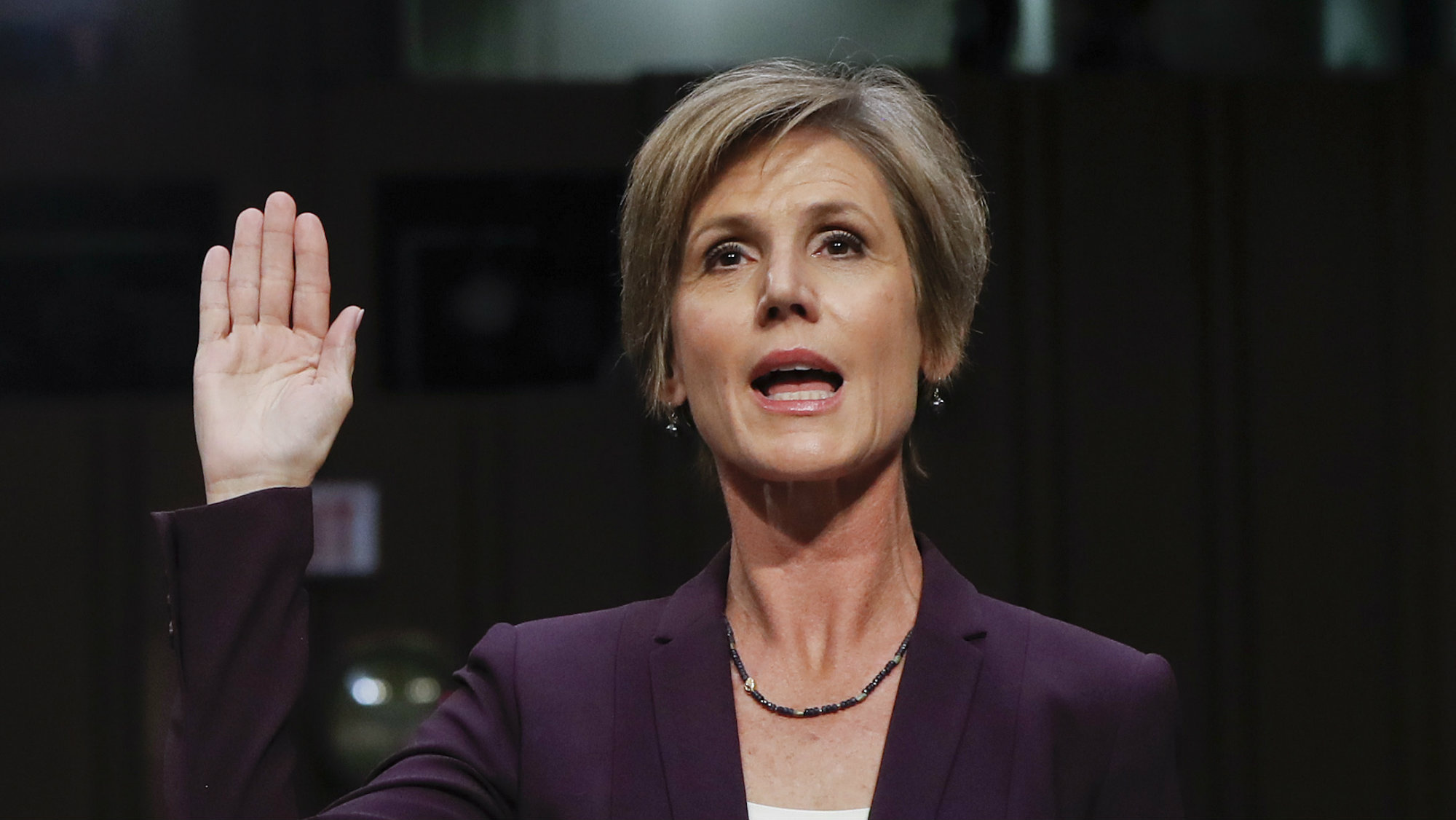 "Former acting Attorney General Sally Yates is sworn-in on Capitol Hill in Washington, Monday, May 8, 2017, prior to testifying before the Senate Judiciary subcommittee on Crime and Terrorism hearing: ""Russian Interference in the 2016 United States Election."""