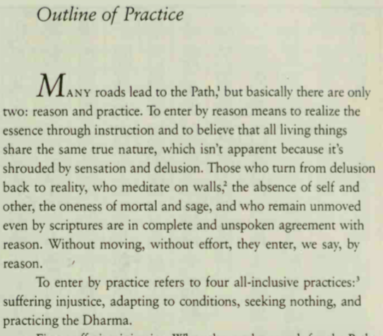 Boddhidharma's Outline of Practice/