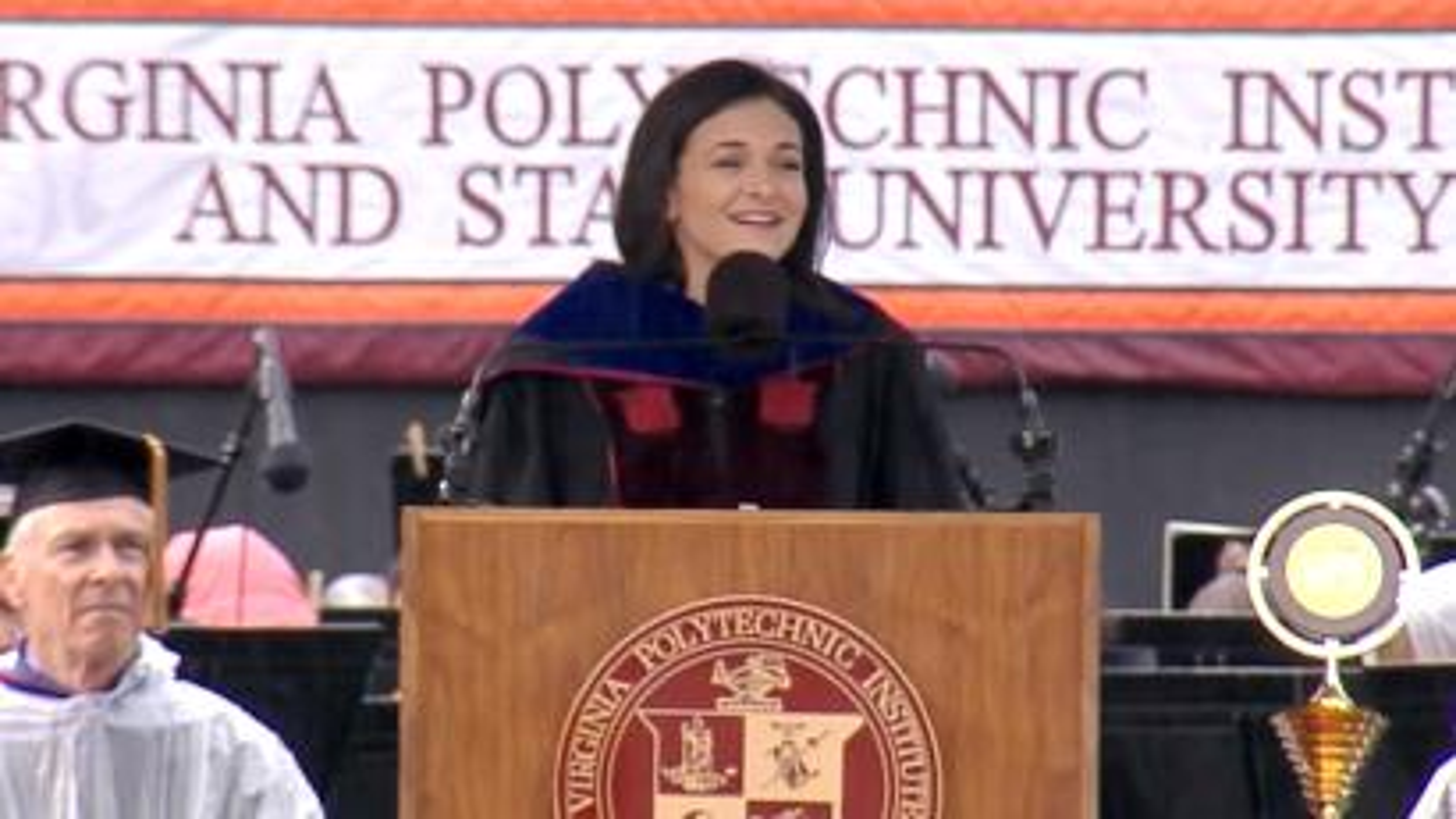 Facebook COO Sheryl Sandberg gives the commencement speech at Virginia Tech.