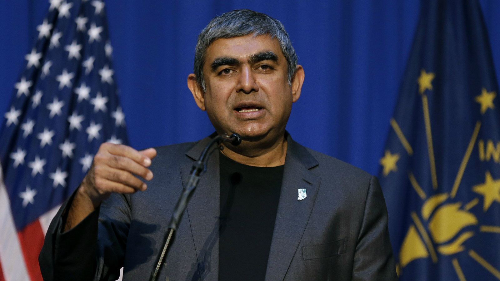Dr. Vishal Sikka, chief executive officer of Infosys, announces at the Statehouse in Indianapolis, Tuesday, May 2, 2017 plans to increase its operations in the U.S, establishing four new state-of-the-art technology and innovation hubs in the U.S., with the first one in Indiana.
