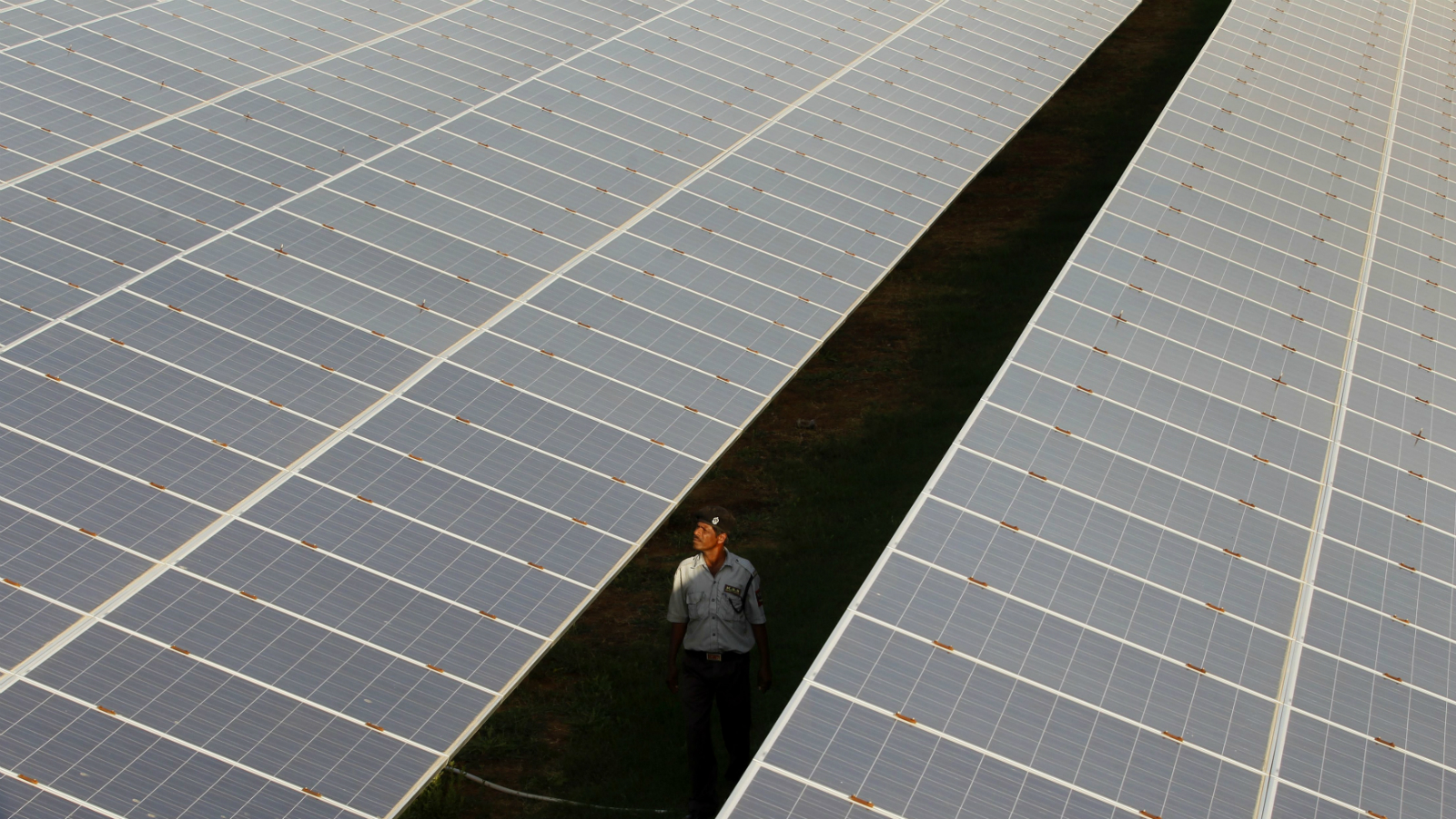 A private security guard walks between rows of photovoltaic solar panels inside a solar power plant at Raisan village near Gandhinagar, in the western Indian state of Gujarat, February 11, 2014. India said on Tuesday it was investigating U.S. policies supporting solar panel makers, the latest move in an escalating row over renewable energy that has worsened already strained ties between the two countries.
