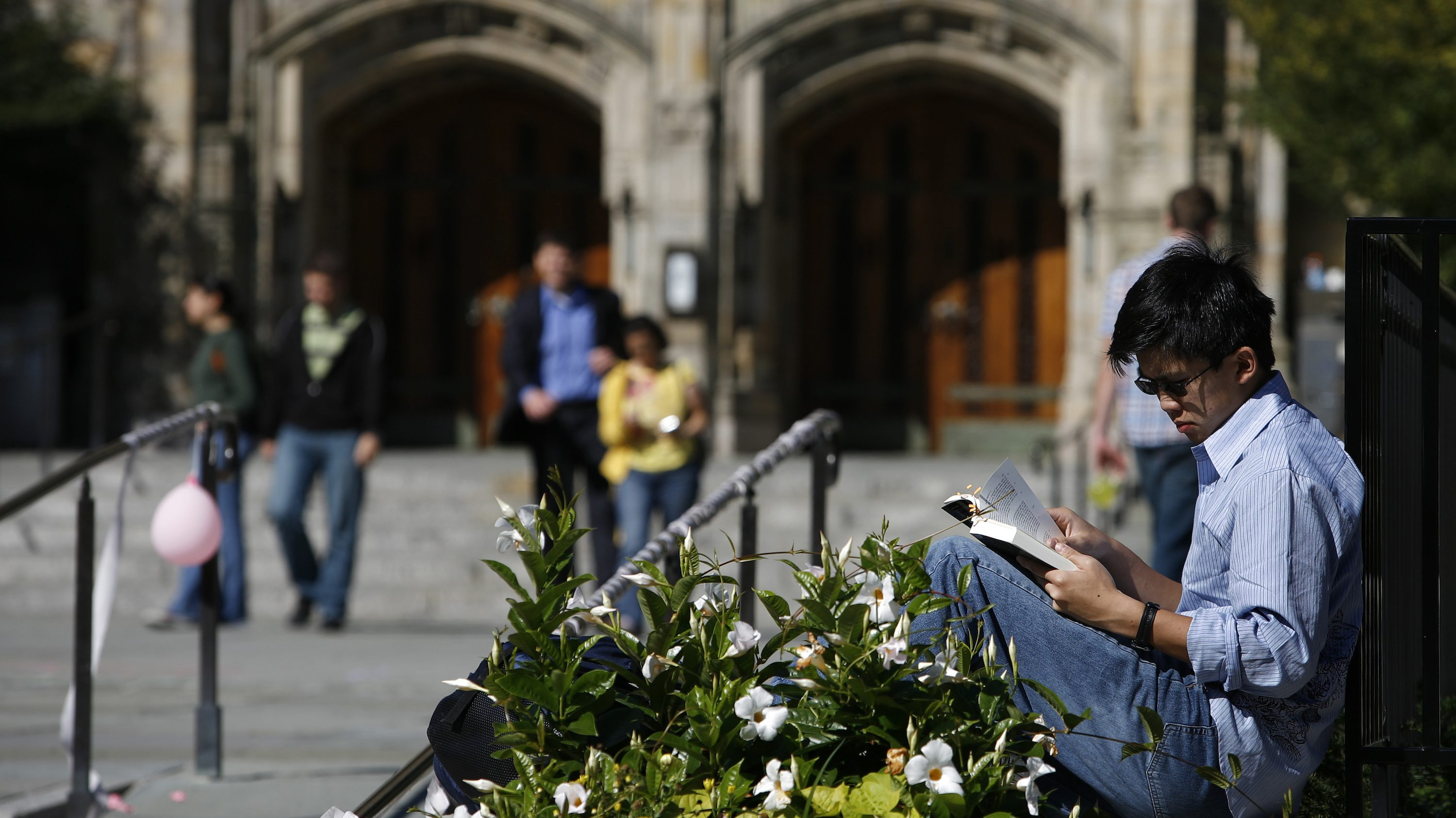 A student read a book on the campus of Yale University in New Haven, Connecticut, October 7, 2009.