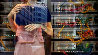 Computer servers are part of the decoration of a shop window of luxury brand Chanel in downtown Frankfurt, Germany, April 7, 2017. REUTERS/Kai Pfaffenbach