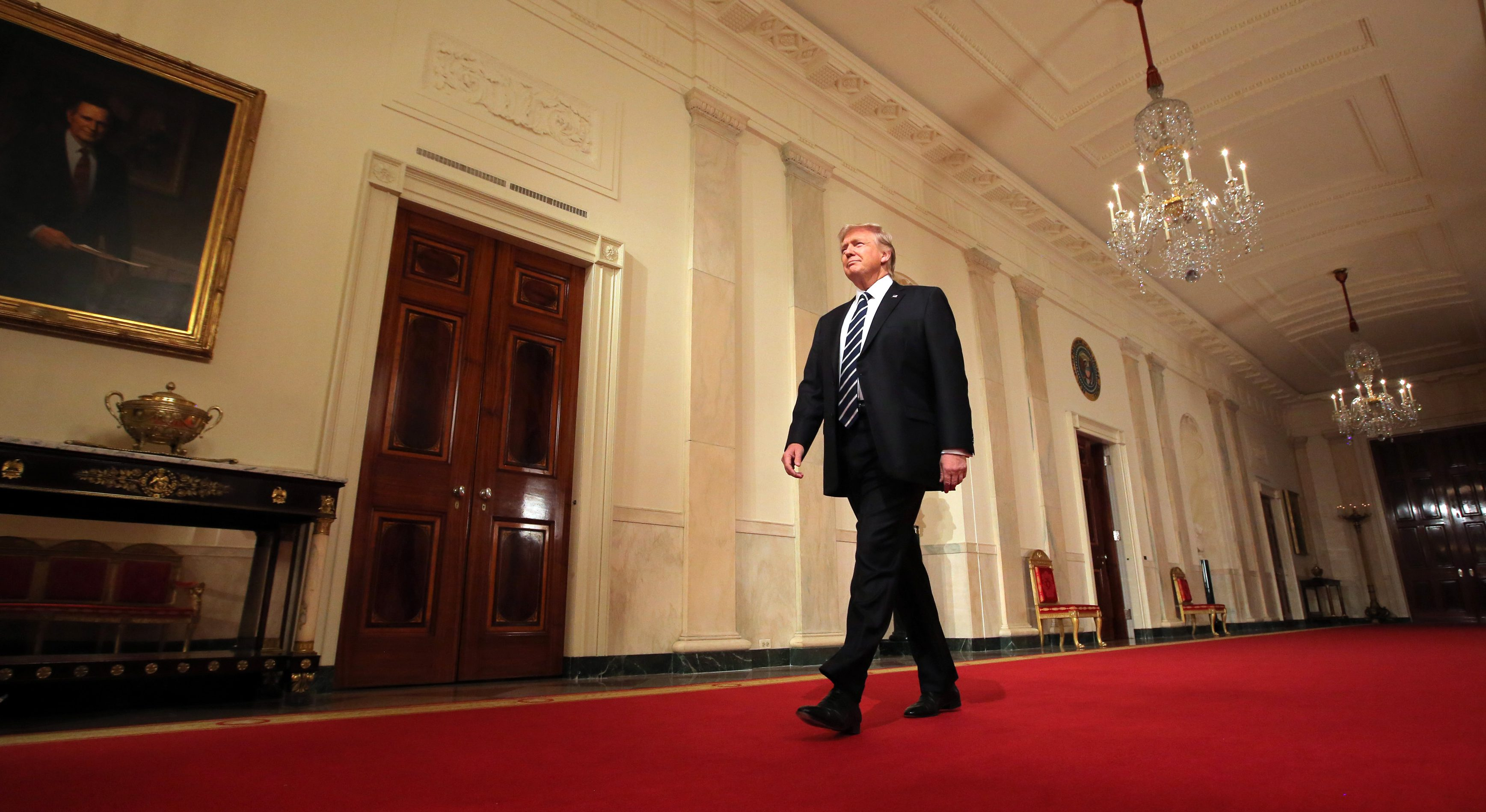 U.S. President Donald Trump arrives to announce his nomination of Neil Gorsuch for the empty associate justice seat of the U.S. Supreme Court at the White House in Washington, D.C., U.S., January 31, 2017.