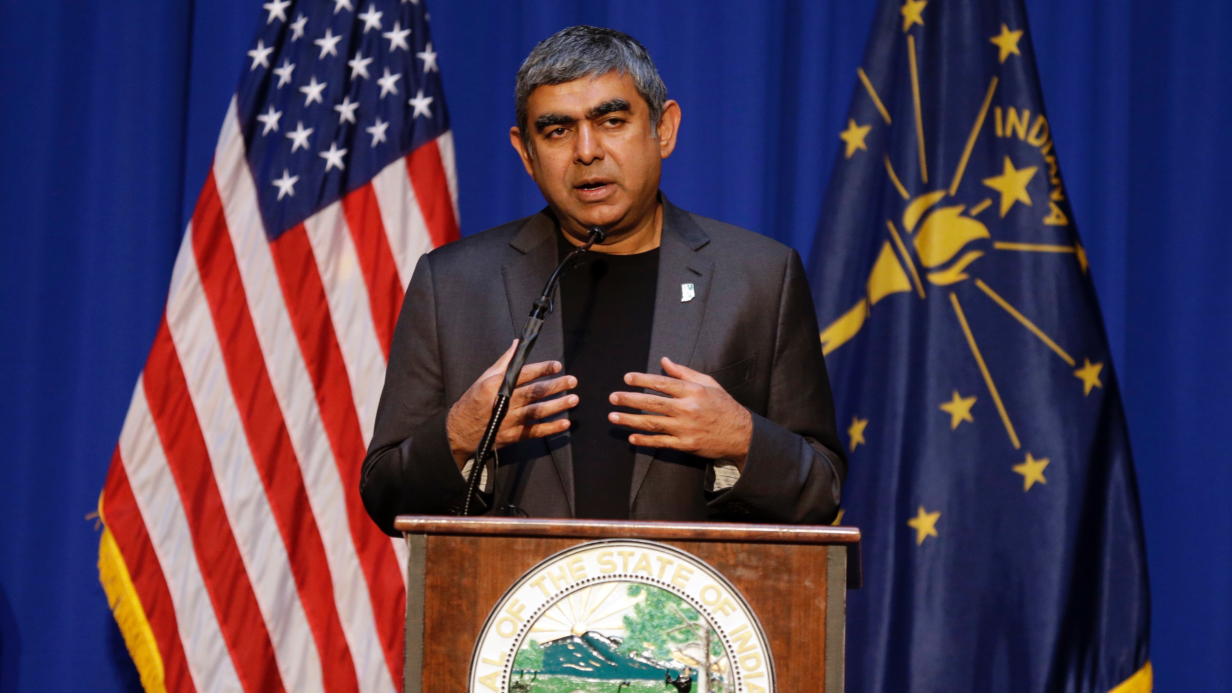 Dr. Vishal Sikka, chief executive officer of Infosys, announces at the Statehouse in Indianapolis, Tuesday, May 2, 2017 plans to increase its operations in the U.S, establishing four new state-of-the-art technology and innovation hubs in the U.S., with the first one in Indiana. (AP Photo/Michael Conroy)