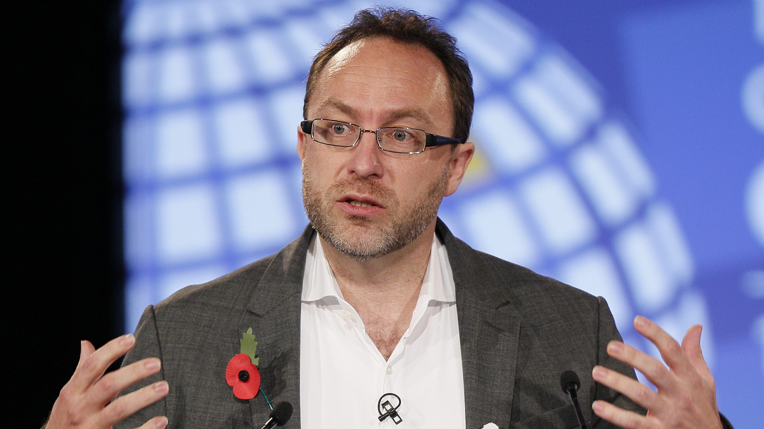 Wikipedia founder Jimmy Wales gestures during the opening session at the London Cyberspace Conference in London November 1, 2011. Britain rejected calls from China and Russia for greater Internet controls on Tuesday at the opening of a major cyberspace conference but was criticised for suggesting curbs on social media after recent riots.