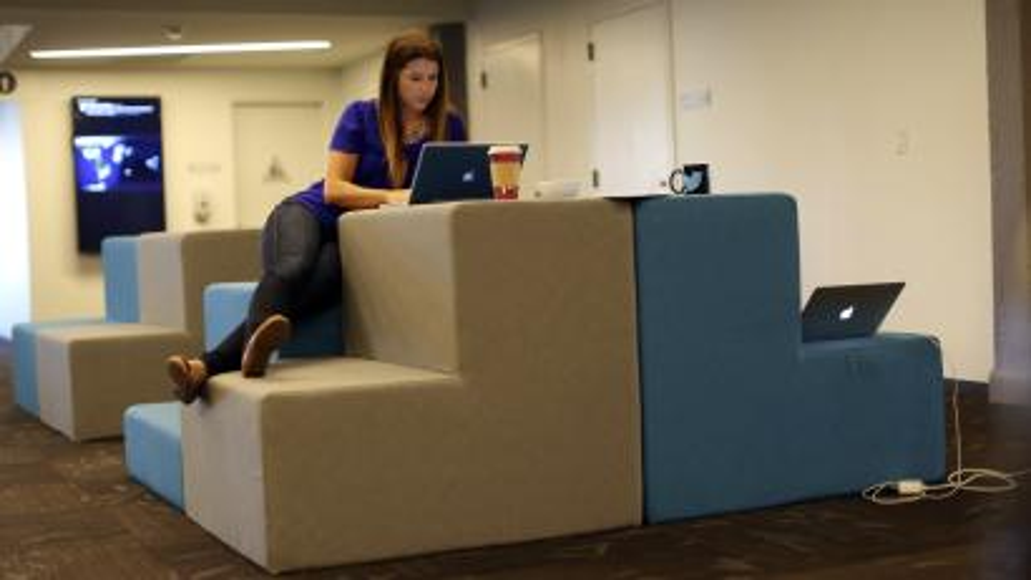 worker sitting alone
