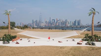 world's largest hammock with the new york skyline in the background