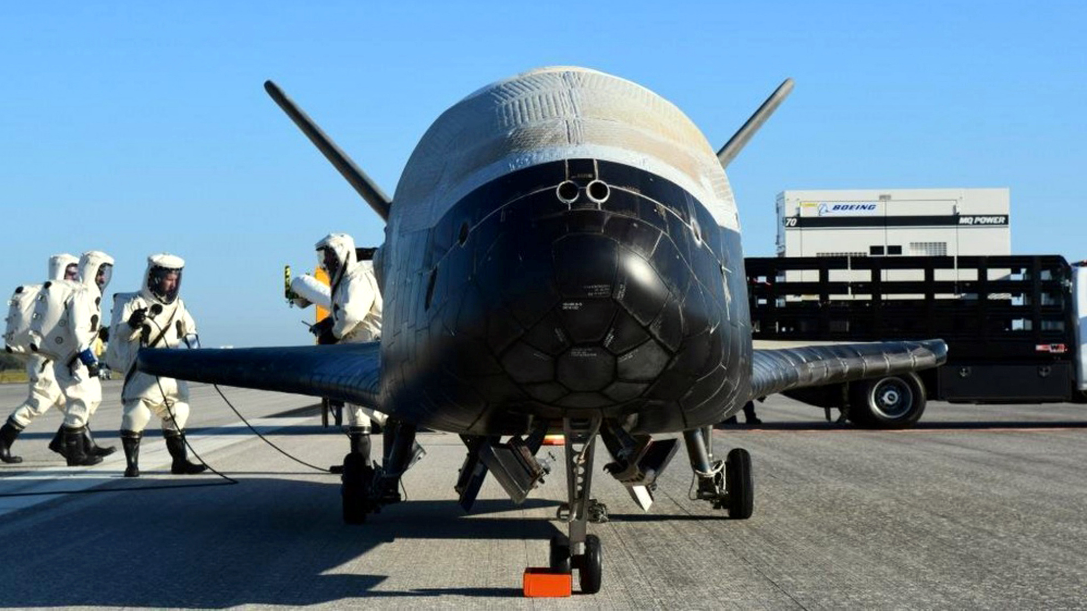 The U.S. Airforce's X-37B Orbital Test Vehicle mission 4 after landing at NASA's Kennedy Space Center Shuttle Landing Facility in Cape Canaveral, Florida, U.S., May 7, 2017.