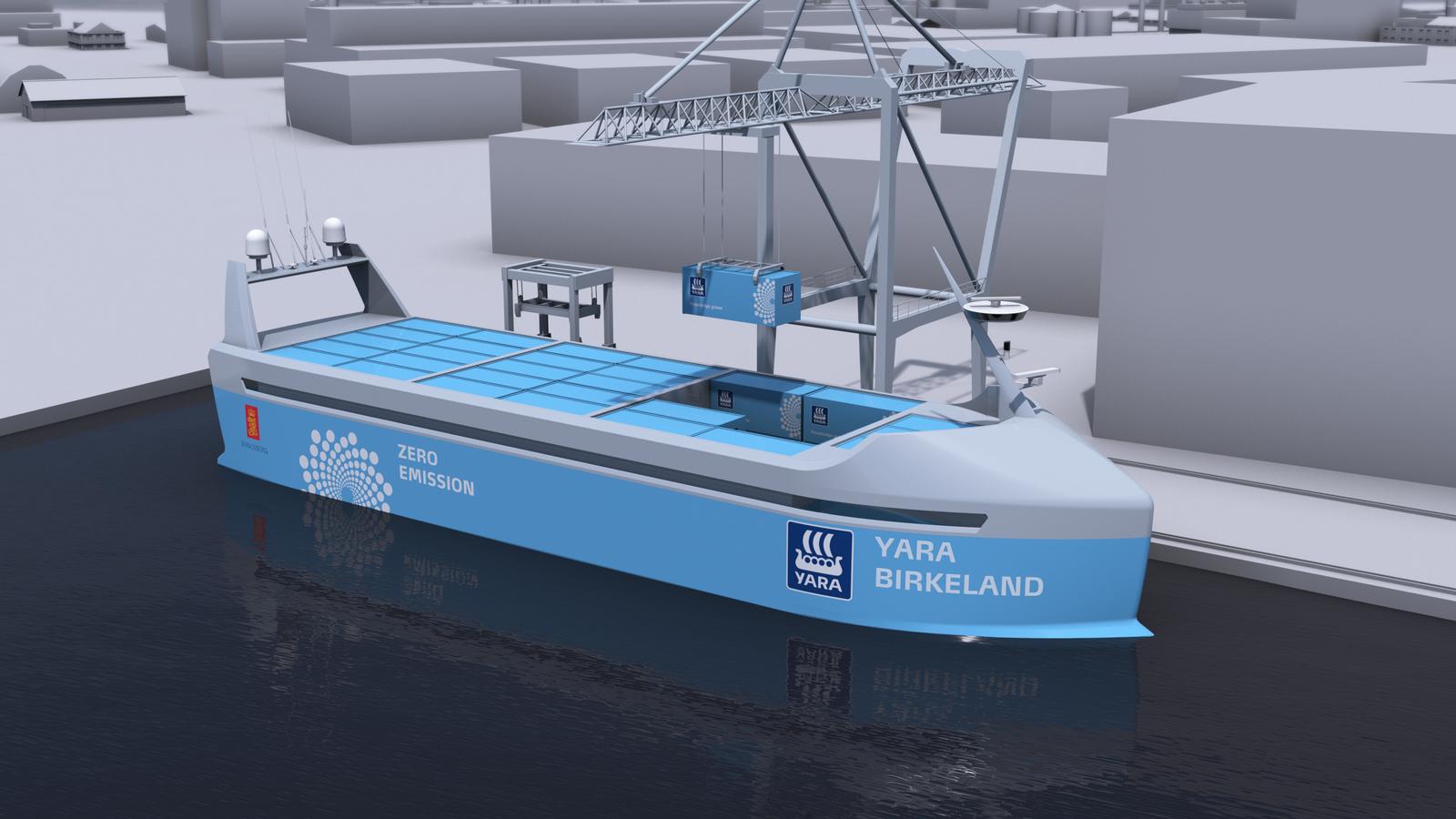 Rendering of Yara's self-driving ship.