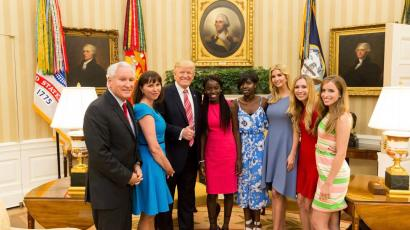 US President Donal Trump hosts two Chibok girls at White House
