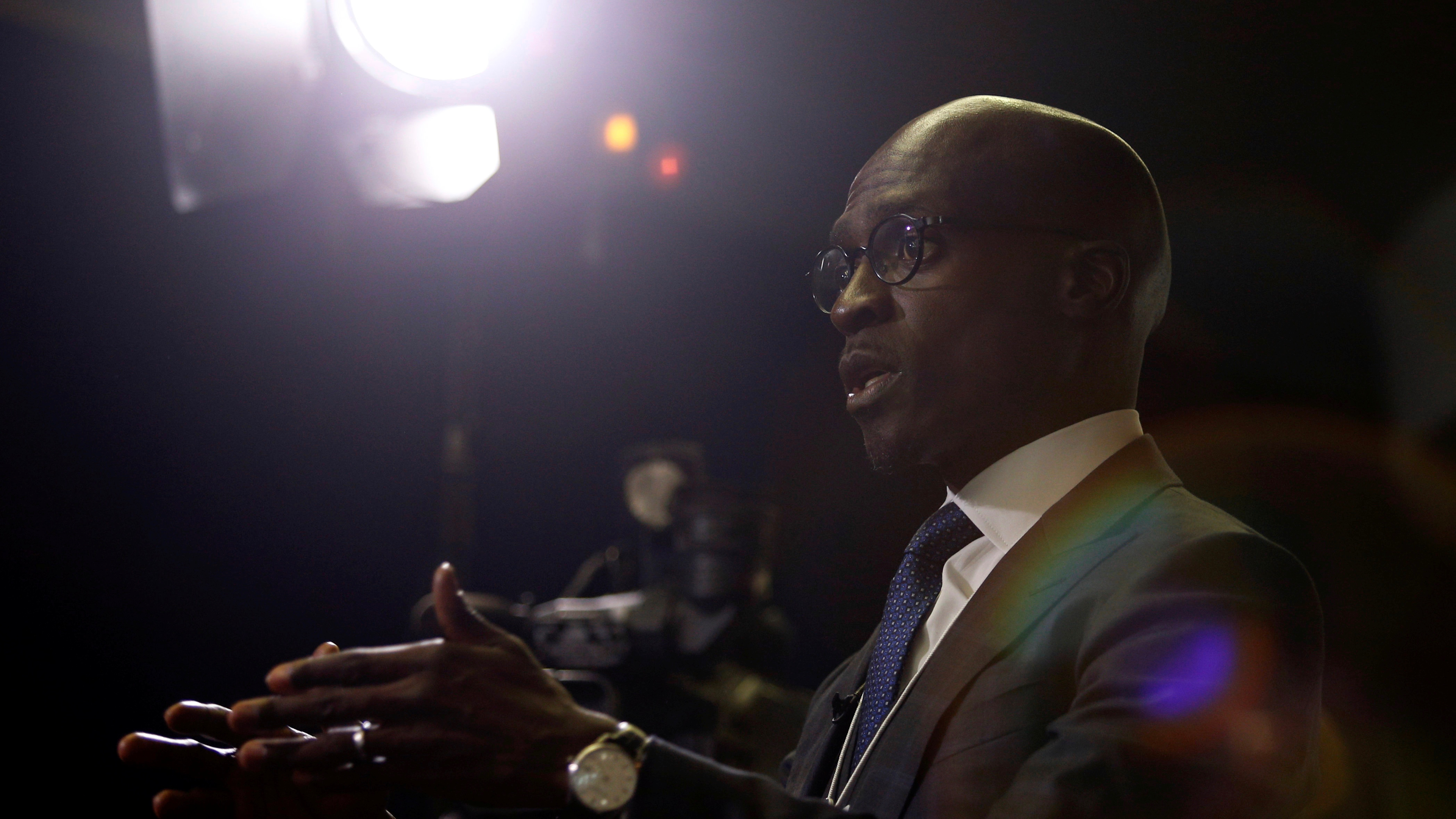 South African Finance Minister Malusi Gigaba speaks to journalists at the World Economic Forum on Africa 2017 meeting in Durban, South Africa, May 3, 2017. REUTERS/Rogan Ward     TPX IMAGES OF THE DAY - RTS14ZHW