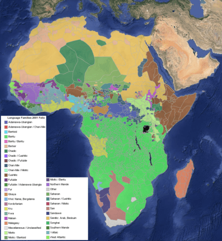 A map of the language families of Africa