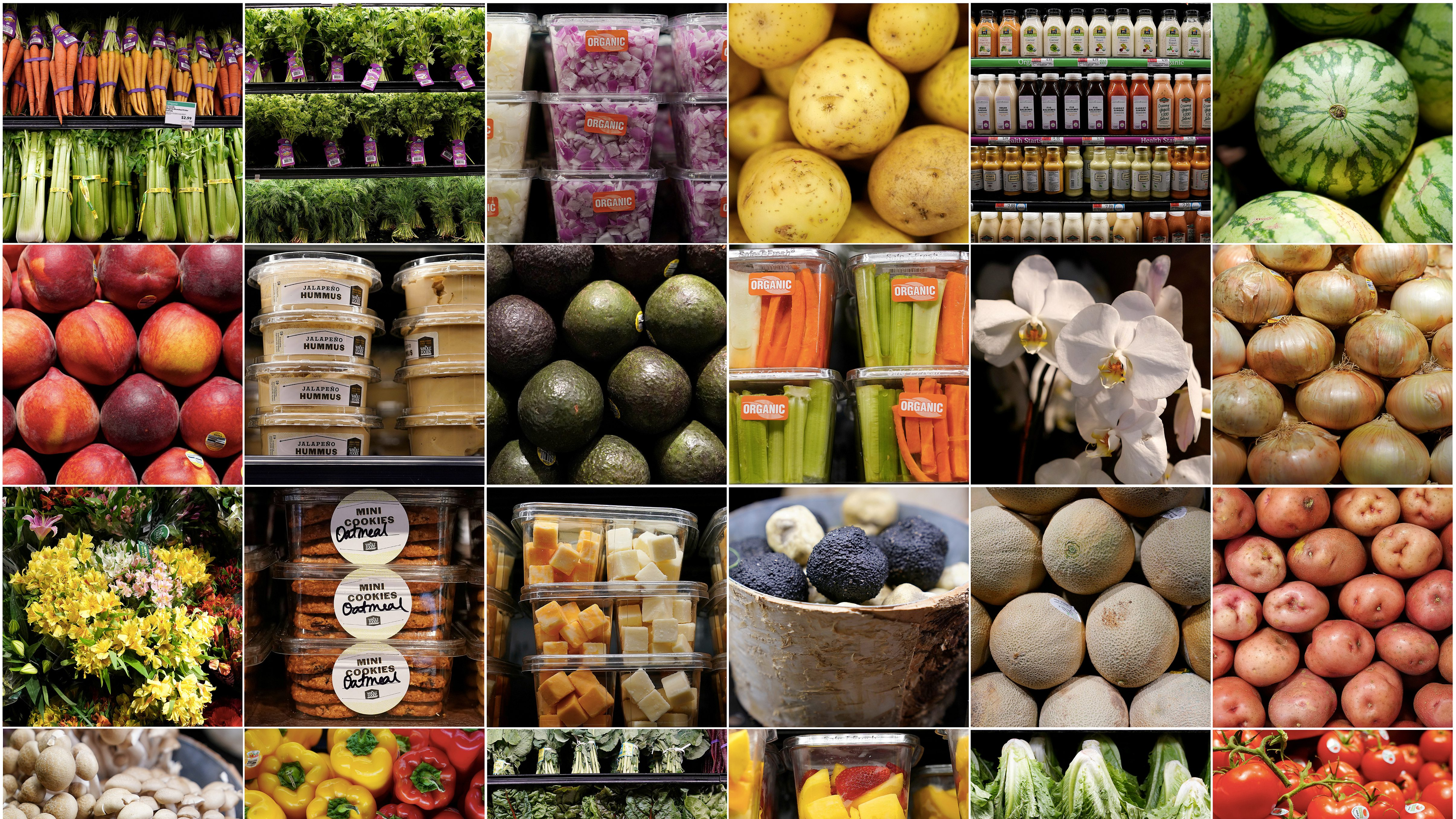 A combination photo shows food and plants for sale inside a Whole Foods Market in the Manhattan borough of New York City, New York, U.S. June 16, 2017.