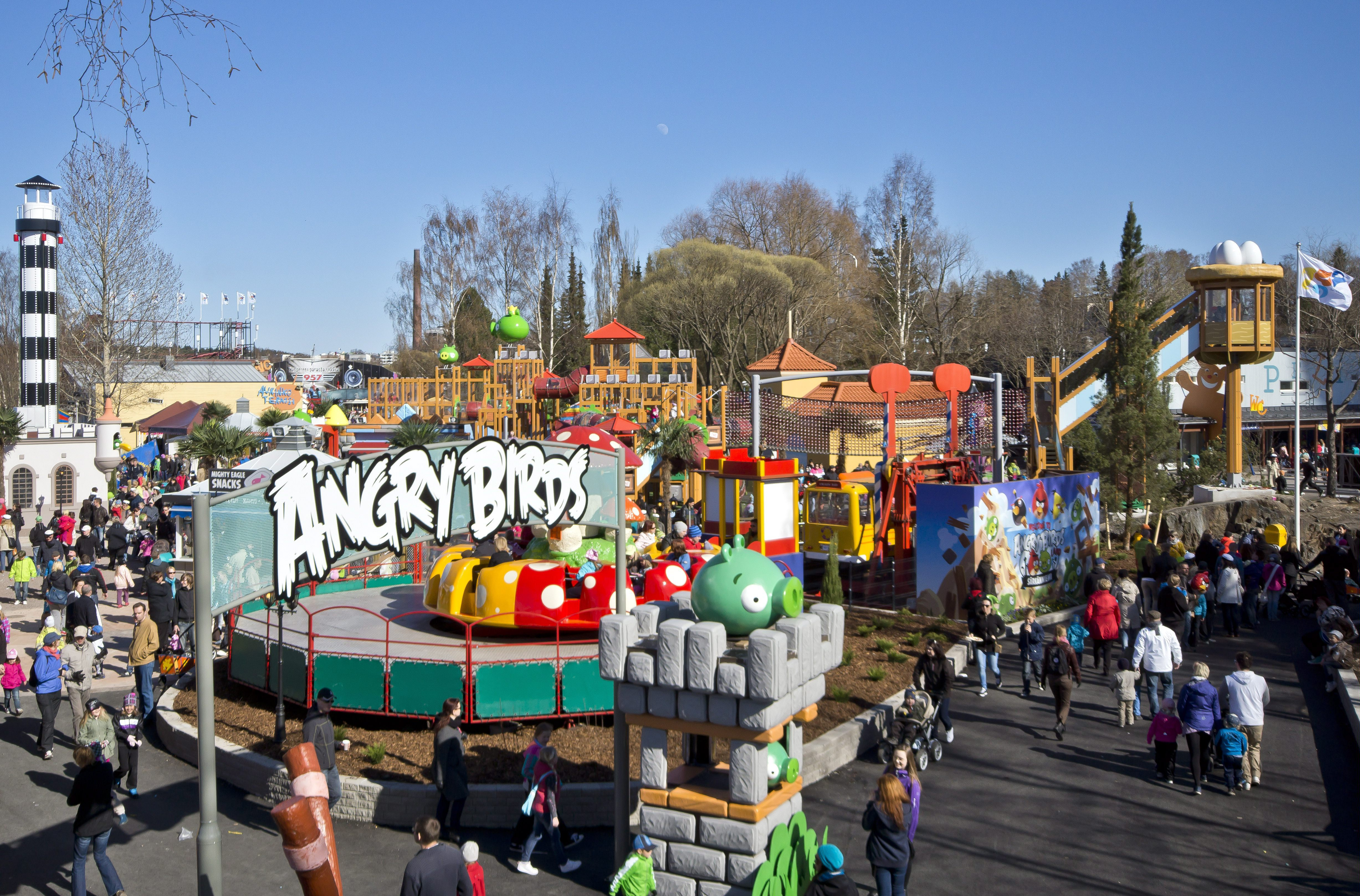 Angry Birds Land, the new part of the Sarkanniemi amusement park in Tampere, seen on May 1, 2012. At Rovio, the future is Angry. The Finnish gaming company that made the eponymous Angry Birds title _ with more than 1 billion downloads to date _ is now spreading its wings beyond the virtual world. It has already launched plush toys, lunch boxes, clothing, stationery, food and drink items, a Formula 1 driver sponsorship deal and a jewelry line with the Angry Birds theme. Rovio this week announced it would launch an Angry Birds-branded debit card in Russia in partnership with a local bank. Next up: Angry Birds Land, one of the highlights of a theme park opening next month in the Finnish city of Tampere.