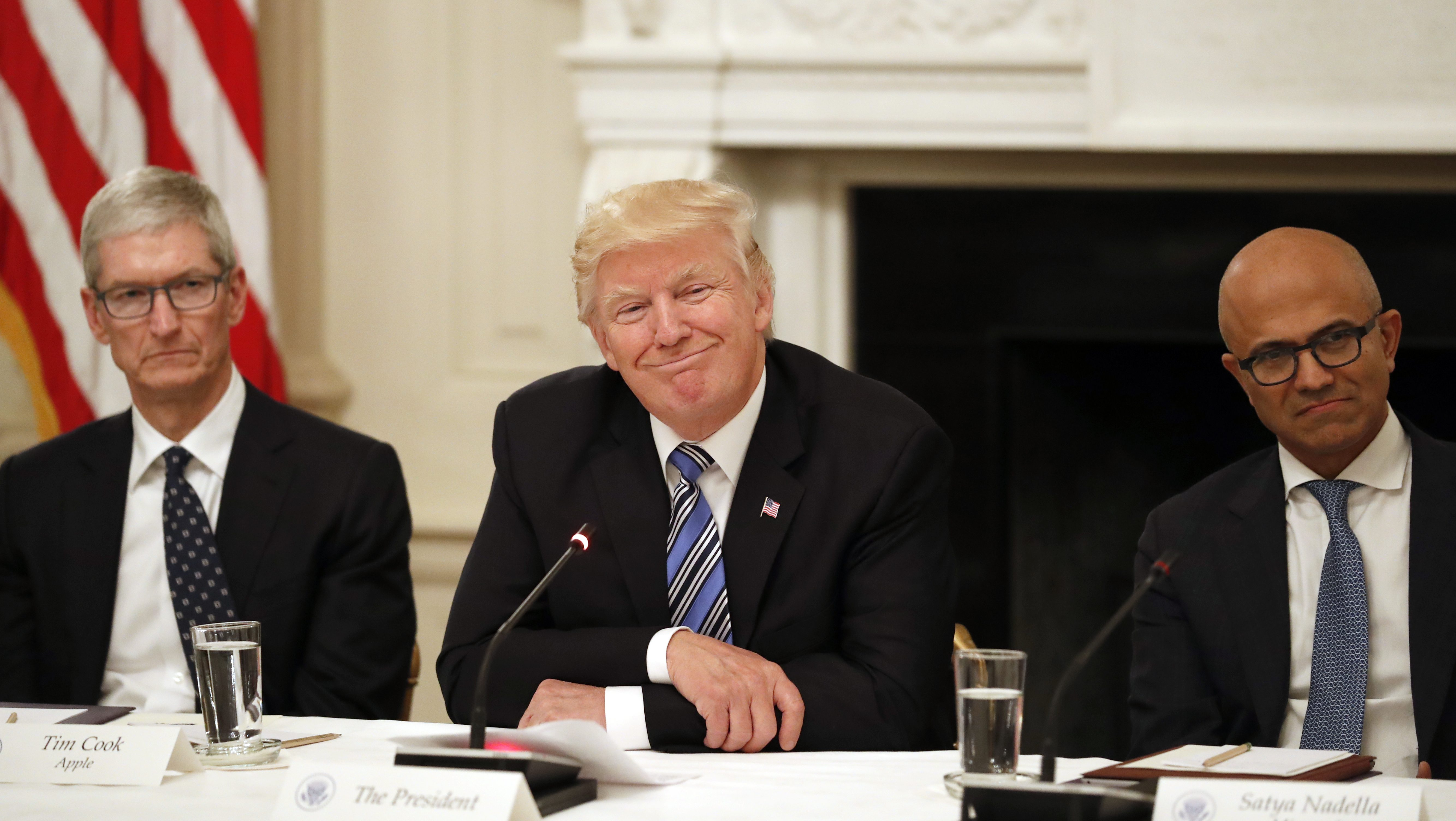 President Donald Trump, center, smiles as he is seated between Tim Cook, Chief Executive Officer of Apple, left, and Satya Nadella, Chief Executive Officer of Microsoft, right, during an American Technology Council roundtable in the State Dinning Room of the White House, Monday, June 19, 2017, in Washington. (AP Photo/Alex Brandon)