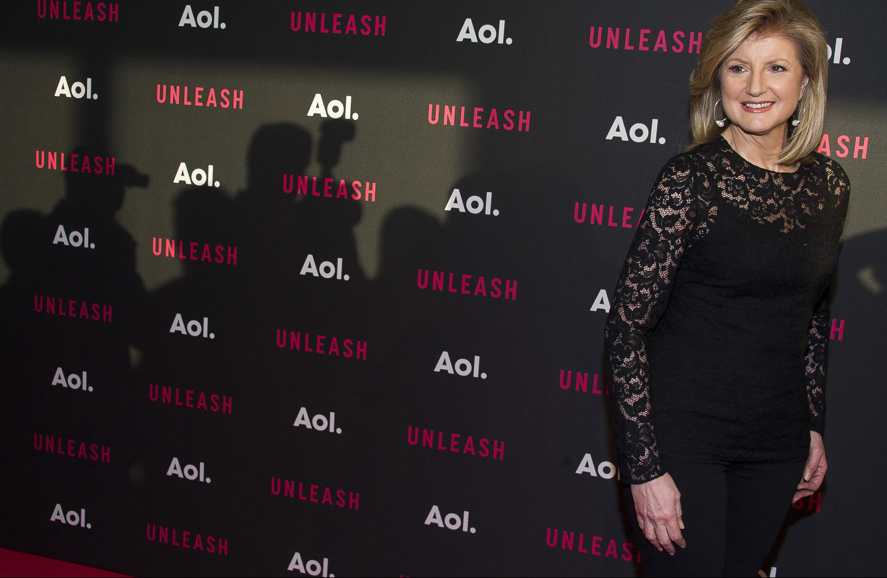 Arianna Huffington attends the AOL NewFront 2015 at 4 World Trade Center on Tuesday, April 28, 2015, in New York. (Photo by Charles Sykes/Invision/AP)