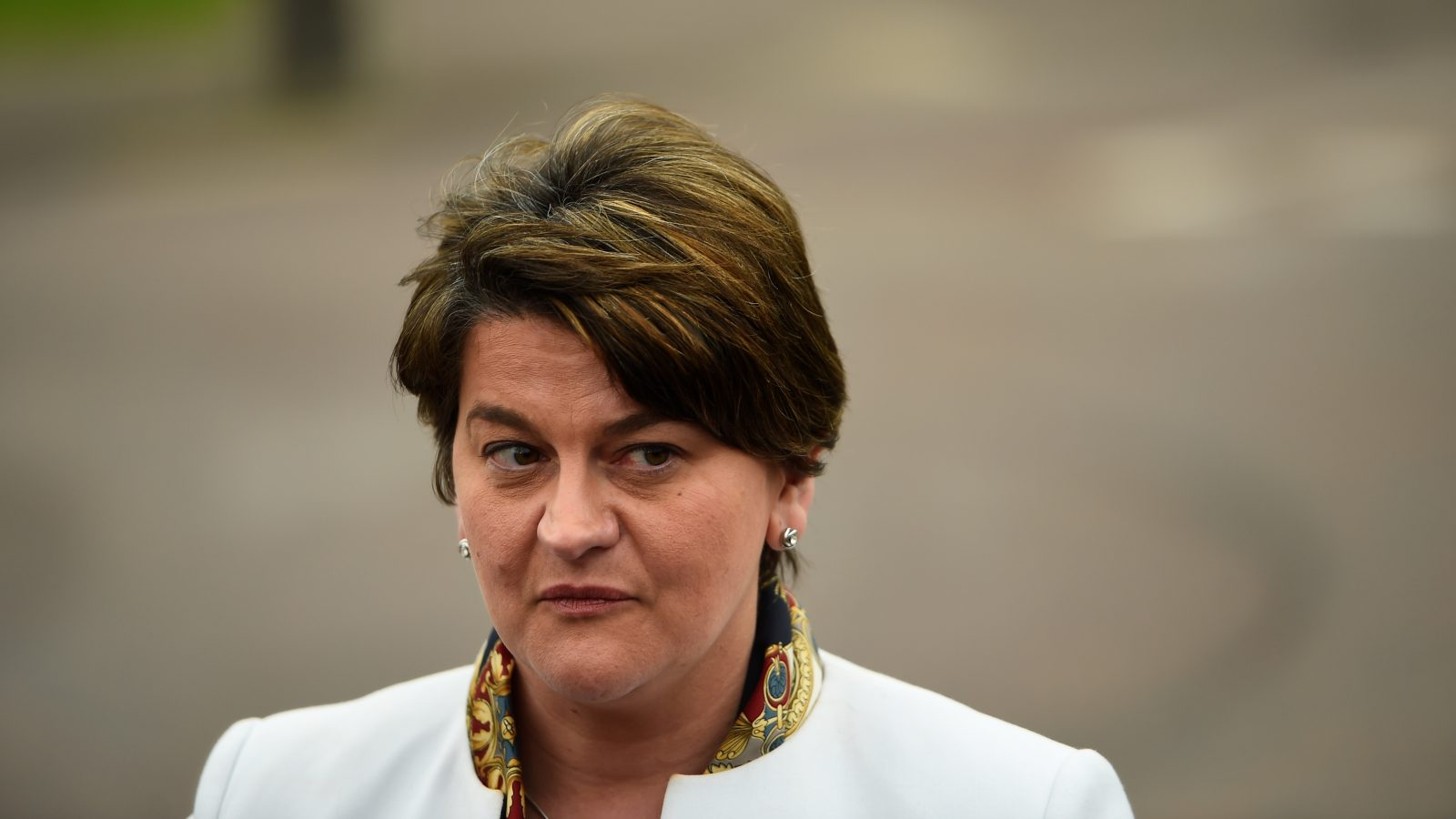Leader of the Democratic Unionist Party (DUP) Arlene Foster speaks to media outside Stormont Parliament buildings in Belfast, Northern Ireland March 6, 2017. REUTERS/Clodagh Kilcoyne - RTS11O67