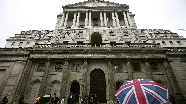 Union jack umbrella outside the Bank of England
