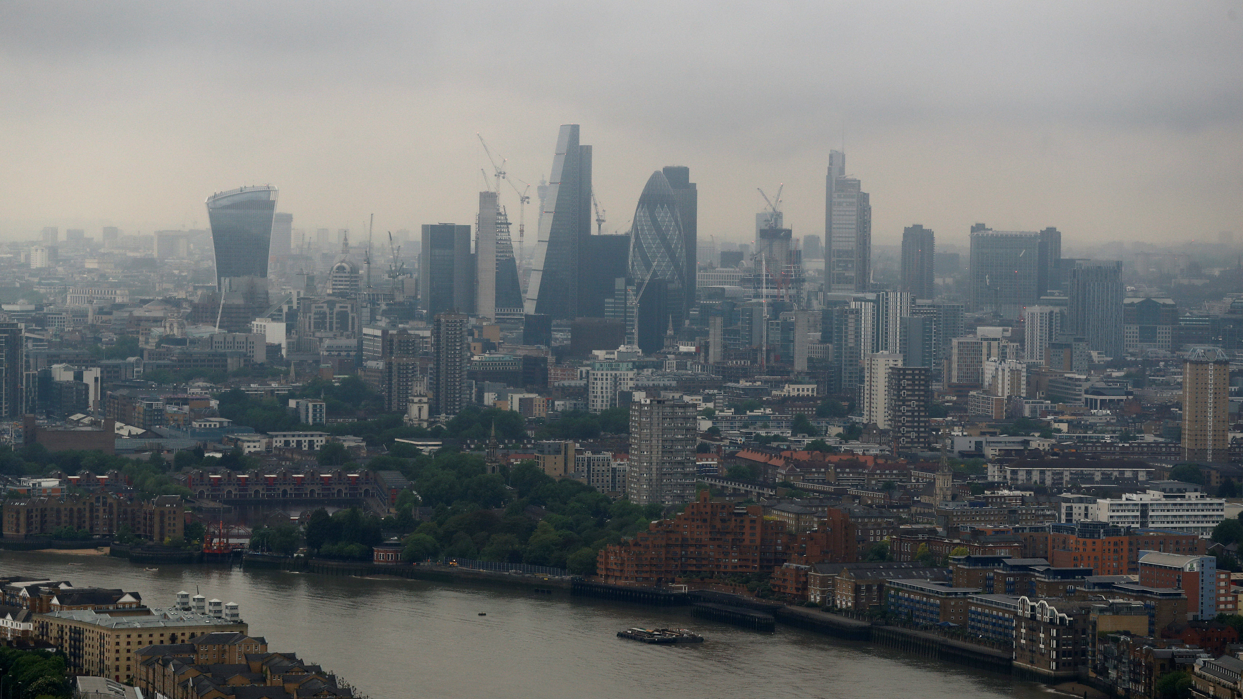 The City of London is seen from Canary Wharf, Britain May 17, 2017.