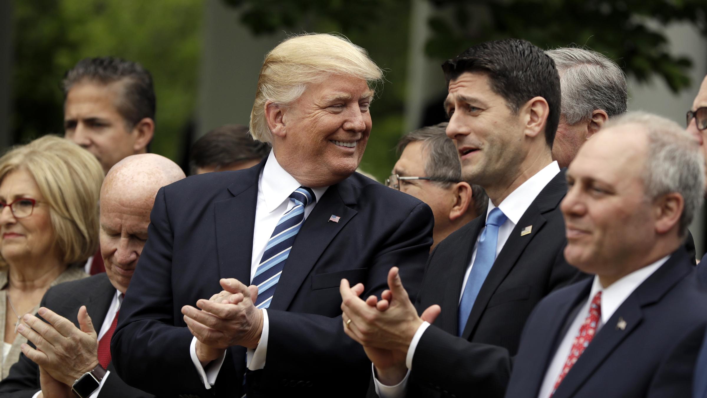 President Donald Trump speaks in the Rose Garden of the White House, Thursday, May 4, 2017, in Washington. (i)
