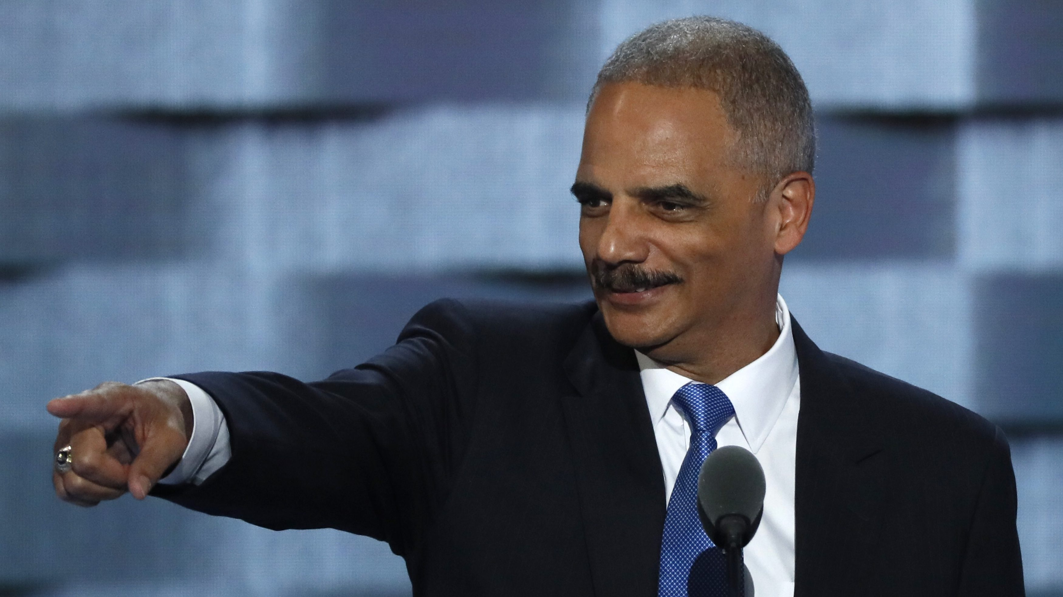 Former U.S. Attorney General Eric Holder speaks during the second day at the Democratic National Convention in Philadelphia, Pennsylvania, U.S. July 26, 2016. REUTERS/Mike Segar - RTSJSWT