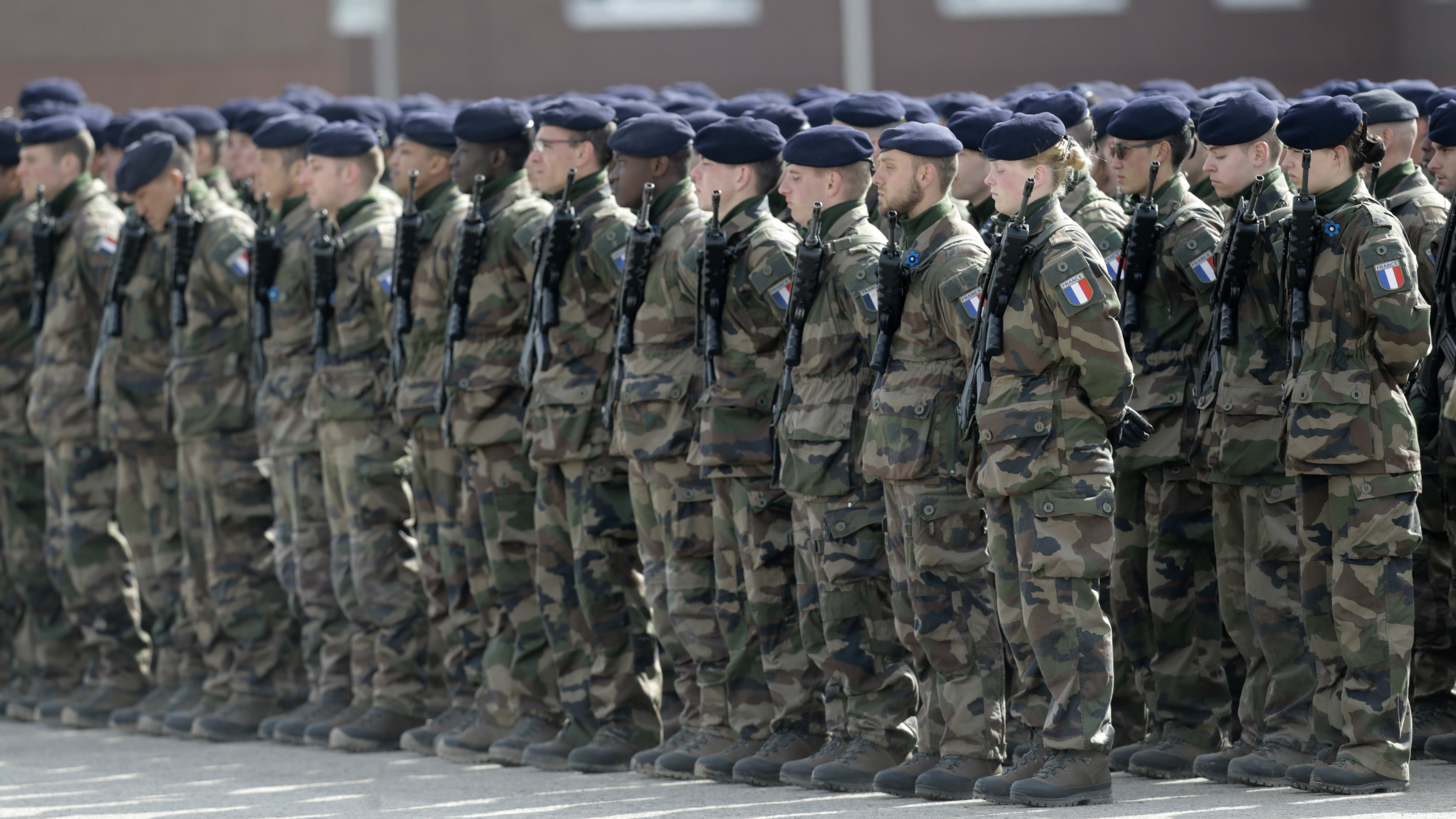 French soldiers standing in formation.