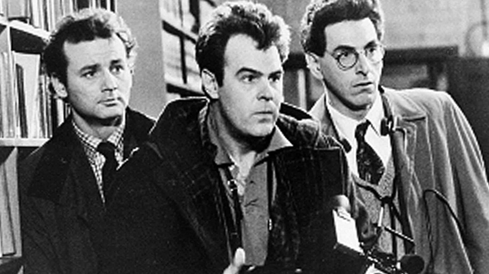"""Shown in this scene from the 1984 movie """"Ghostbusters"""" are Bill Murray, Dan Aykroyd, center, and Harold Ramis.  (AP Photo)"""