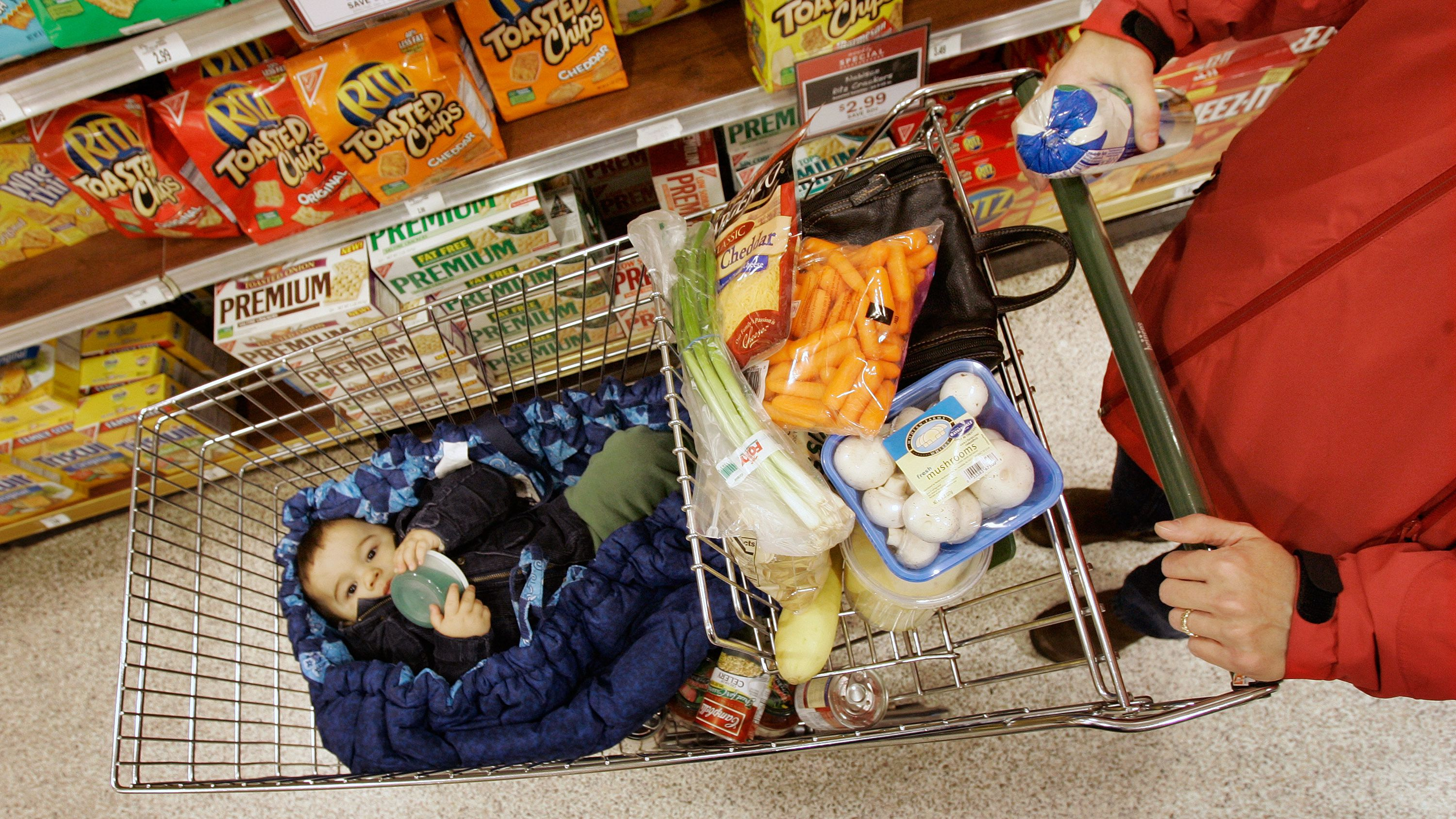 A shopper takes her son along for the ride which shopping at the Heinen's grocery store in Bainbridge Twp., Ohio in this Dec. 13, 2007 file photo. Steadily rising food costs aren't just causing grocery shoppers to do a double-take at the checkout line _ they're also changing the very ways we feed our families. (AP Photo/Amy Sancetta, file)