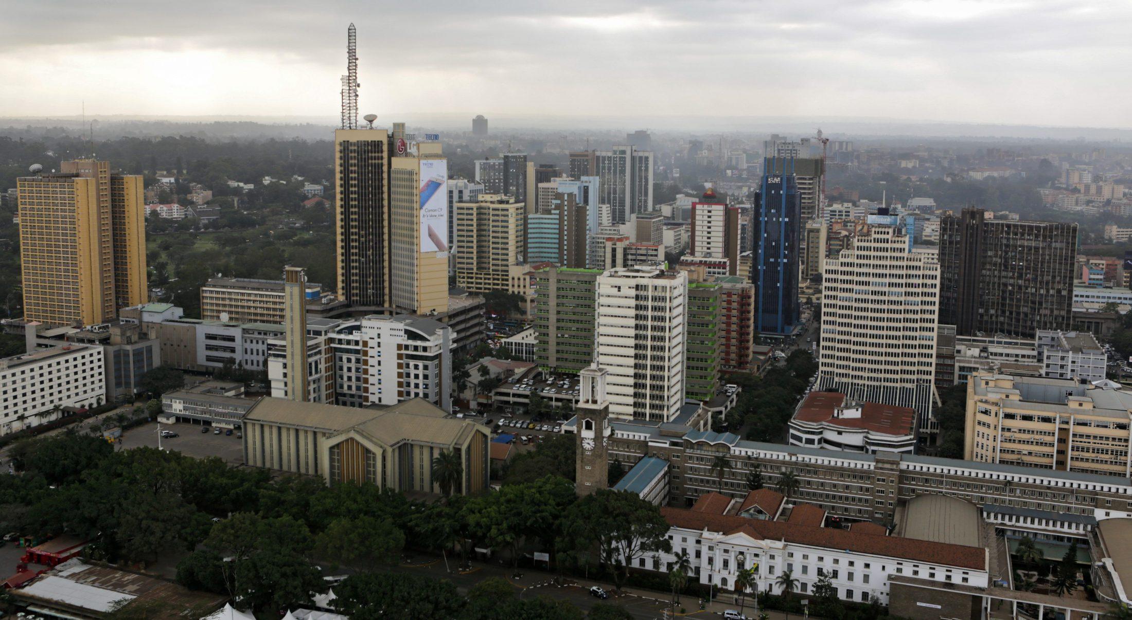 An aerial general view over Nairobi, Kenya, 21 July 2016.