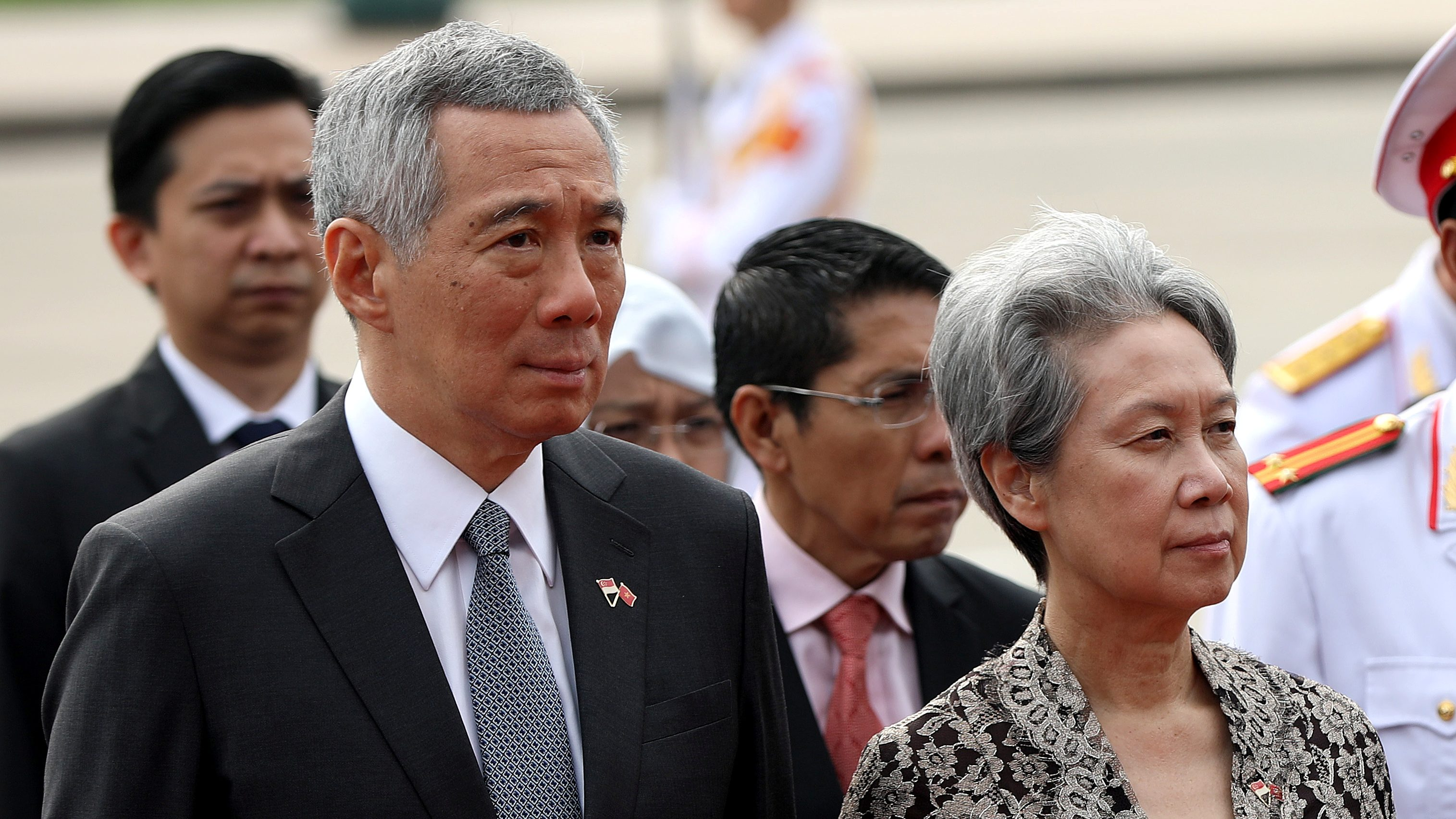 Singapore's Prime Minister Lee Hsien Loong and his wife Ho Ching attend a wreath laying at the Mausoleum of Ho Chi Minh in Hanoi, Vietnam 23 March 2017.
