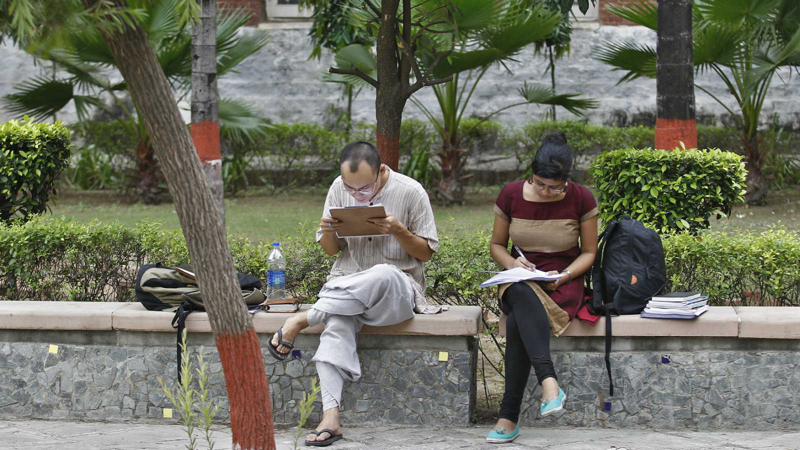 Indian students study inside the Delhi University campus in New Delhi September 20, 2013. Picture taken September 20, 2013. To match INDIA-EDUCATION/