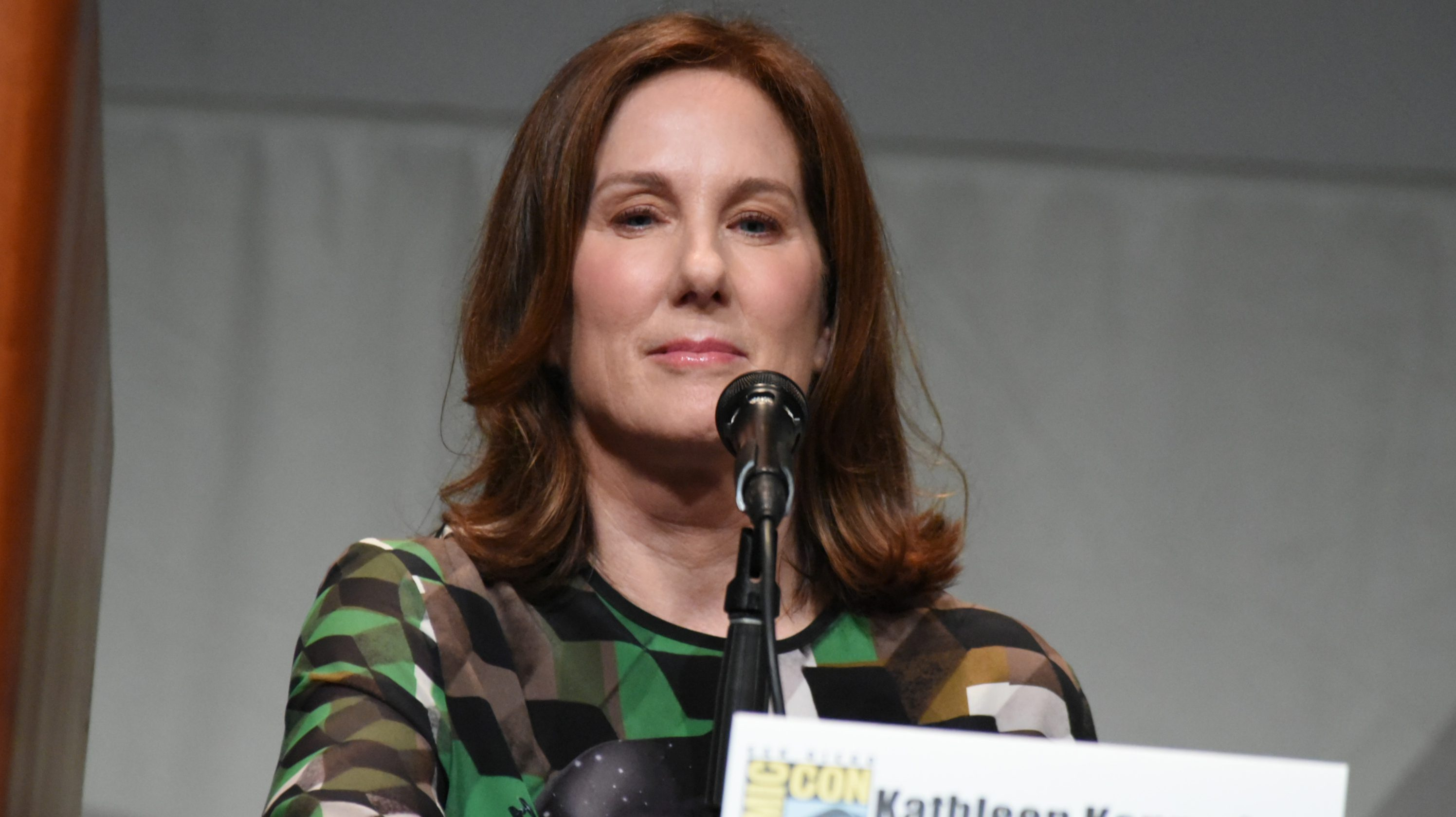 "Kathleen Kennedy attends Lucasfilm's ""Star Wars: The Force Awakens"" panel on day 2 of Comic-Con International on Friday, July 10, 2015, in San Diego, Calif. (Photo by Richard Shotwell/Invision/AP)"