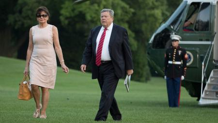 Viktor and Amalija Knavs, the parents of first lady Melania Trump, walk from Marine One across the South Lawn to the White House in Washington, Sunday, June 11, 2017, as they arrived with President Donald Trump, first lady Melania Trump and the Trumps' son, Barron Trump. (AP Photo/Carolyn Kaster)