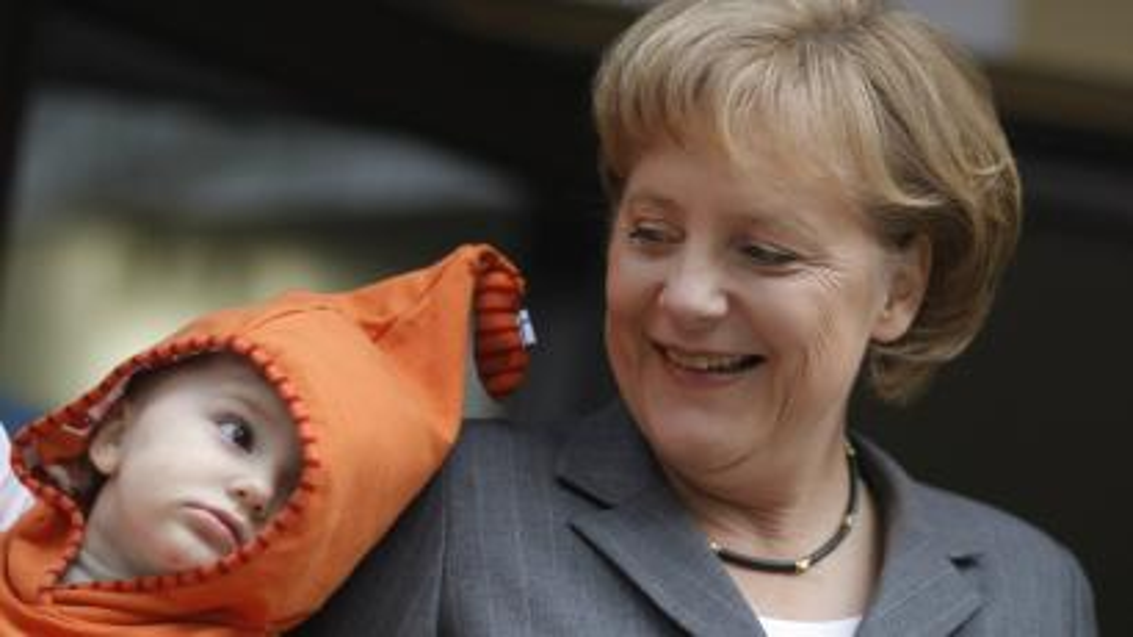 Merkel and child
