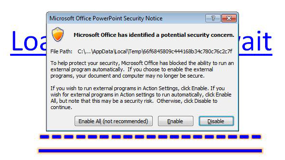 A PowerPoint document infected with malware.