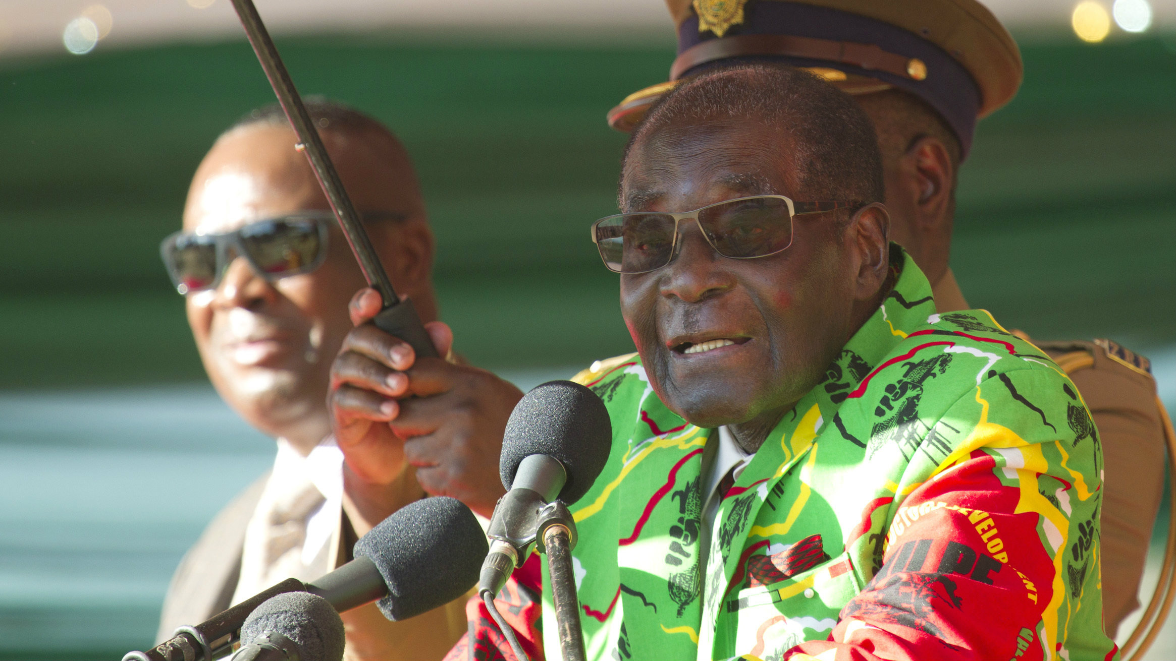 Zimbabwean President Robert Mugabe addresses a youth rally in Marondera about 100 kilometres east of Harare, Friday, June, 2, 2017. The rally was held as part of his 2017 Presidential election campaign bid where the youth declared Mugabe as the sole candidate and life President of the Southern African nation.