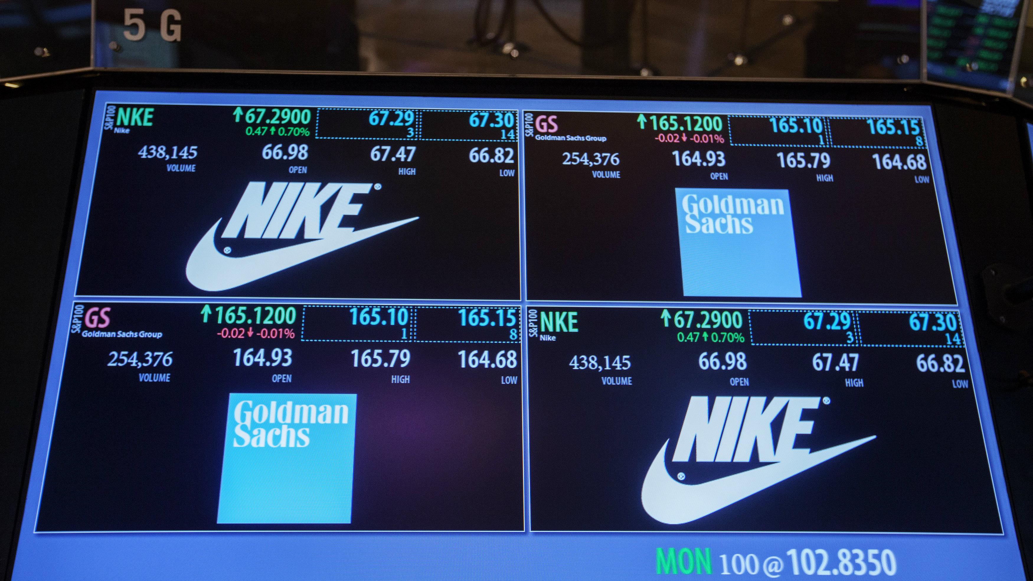 The Goldman Sachs and Nike corporate logos are displayed on a post above the floor of the New York Stock Exchange, September 11, 2013. In the biggest shake-up of the Dow Jones industrial average in nearly a decade, Goldman Sachs, Visa and Nike will join the storied 30-stock index, with Bank of America, which just two years ago was the largest U.S. bank by assets, one of the names exiting the Dow. REUTERS/Lucas Jackson (UNITED STATES - Tags: BUSINESS)