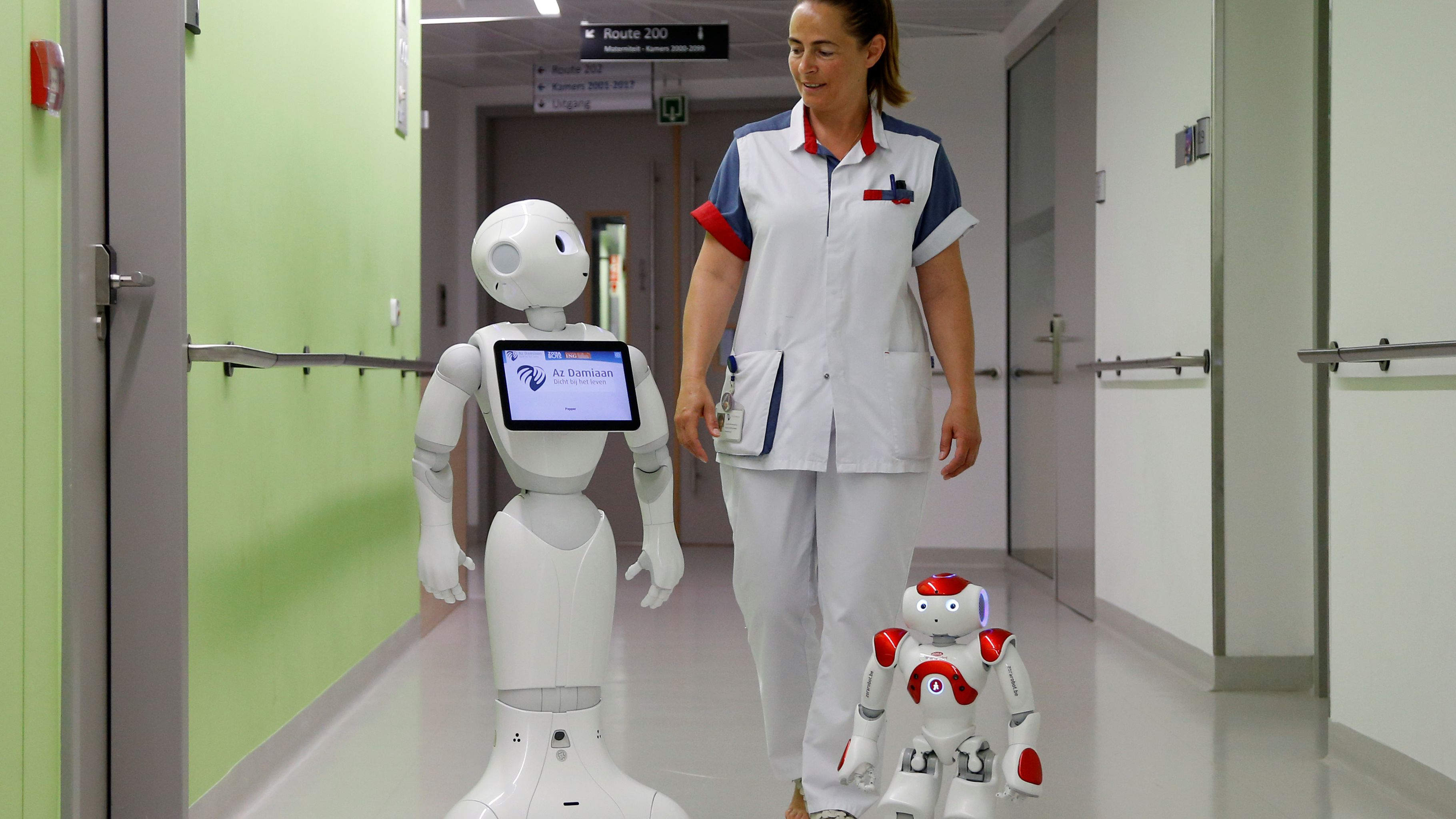 """A nurse walks with """"Pepper"""" (L) and """"Zora"""" the robots, humanoid robots designed to welcome and take care of visitors and patients, at AZ Damiaan hospital in Ostend, Belgium June 16, 2016. REUTERS/Francois Lenoir"""
