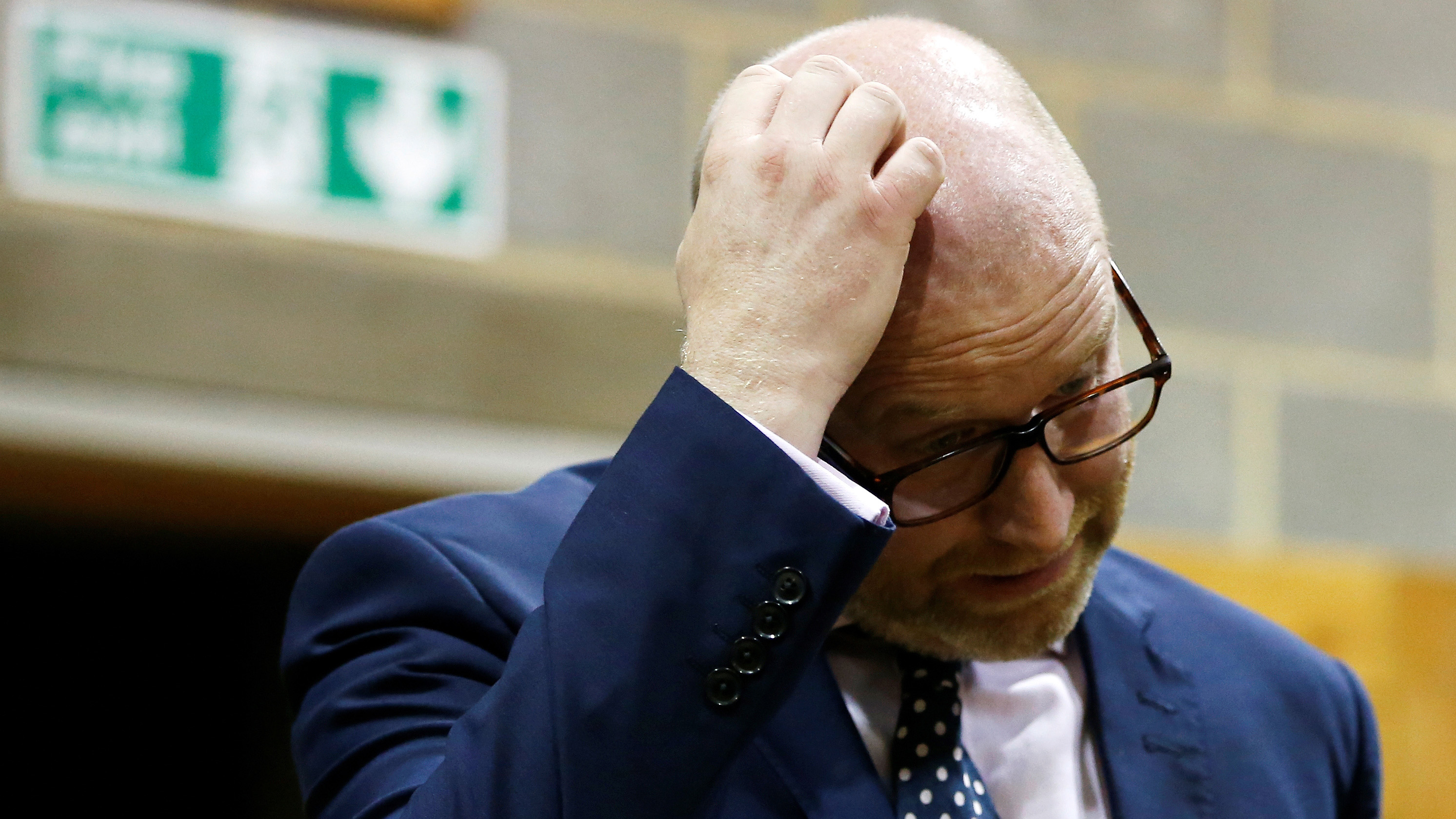 Paul Nuttal, leader of the United Kingdom Independence Party reacts after failing to win the seat of Boston and Skegness at the counting centre for Britain's general election in Boston, June 9, 2017. REUTERS/Paul Childs - RTX39R1X