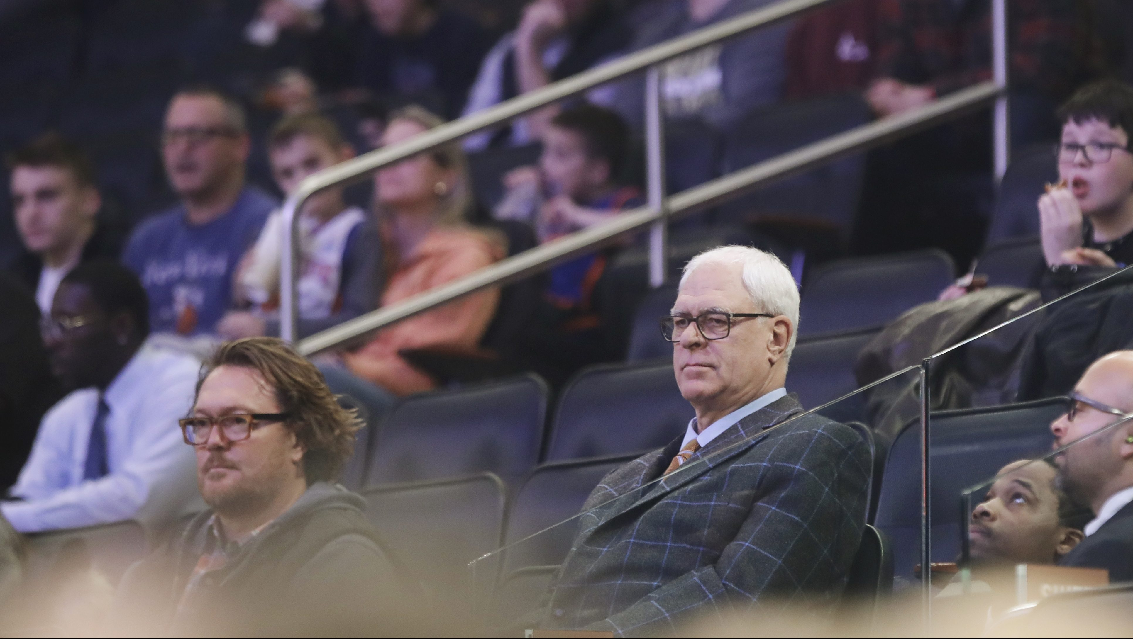 New York Knicks president Phil Jackson watches during the first half of an NBA basketball game against the Indiana Pacers Tuesday, March 14, 2017, in New York.